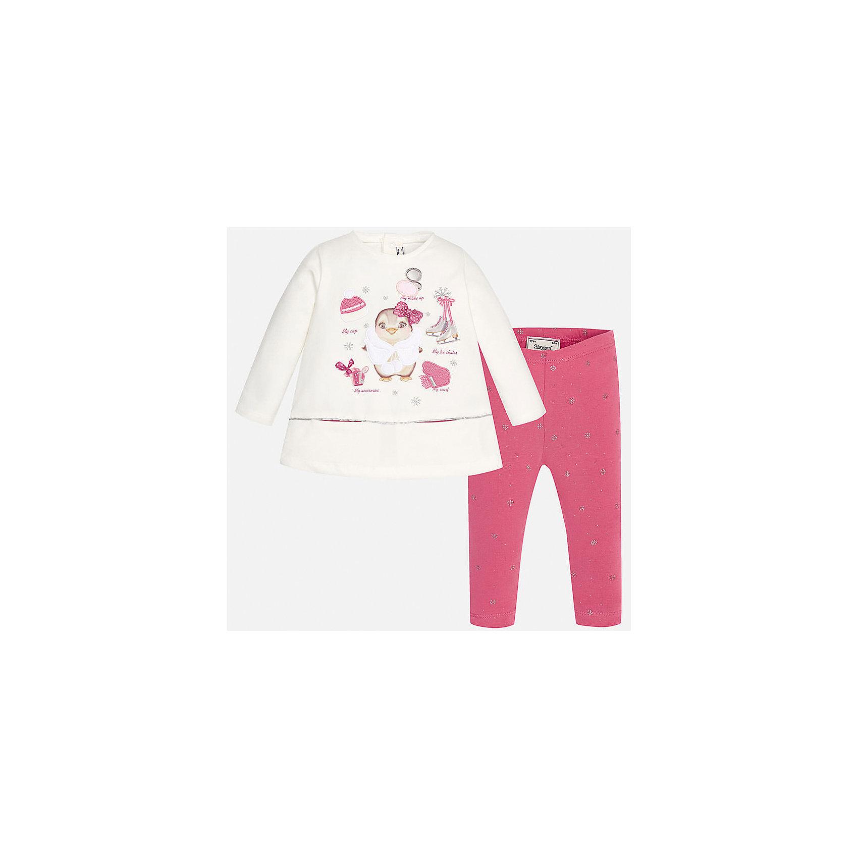 Комплект:футболка и леггинсы для девочки MayoralКомплект для девочки торговой марки  Майорал-Mayoral будет отличным вариантом для подарка. Аккуратные швы не доставят дискомфорта. Грамотный крой изделия обеспечивает отличную посадку по фигуре.  В комплект входят футболка с длинными рукавами и леггинсы выполненны из хлопка. Мягкий лонгслив украшен изображением милого пингвинчика зимой на розовом фоне. Эластичные леггинсы украшены маленкими снежинками и точками, дополнены удобной широкой резинкой на поясе. Такой модный комплект будет по достоинству оценен Вашей девочкой.<br><br>Дополнительная информация:<br><br>- вид застежки: без застежки <br>- цвет: розовый, белый<br>- тип карманов: втачные <br>- параметры брючин: ширина брючин – низ: 9 см; по внутреннему шву ; 21 см<br>- фактура материала: текстильный<br>- покрой: прямой<br>- состав: 92% хлопка; 8% эластан<br>- длина  изделия: верх 38 см. низ 31 см<br>- уход за вещами: бережная стирка при 30 градусах<br>- рисунок: с  рисунком<br>- материал: трикотаж<br>- назначение: повседневная<br>- сезон: круглогодичный<br>- пол: девочки<br>- страна бренда: Испания<br>- страна производитель:  Индия<br>- комплектация: лонгслив, леггинсы <br><br>Комплект торговой марки  Майорал можно купить в нашем интернет магазине.<br><br>Ширина мм: 123<br>Глубина мм: 10<br>Высота мм: 149<br>Вес г: 209<br>Цвет: красный<br>Возраст от месяцев: 12<br>Возраст до месяцев: 15<br>Пол: Женский<br>Возраст: Детский<br>Размер: 80,92,86,74<br>SKU: 4846154