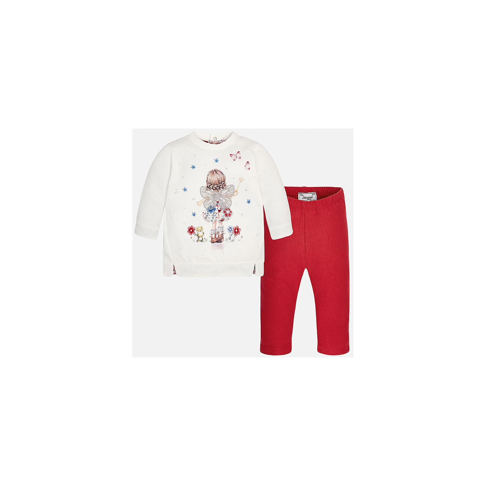 Mayoral Комплект:футболка и леггинсы для девочки Mayoral леггинсы для девочки a08622 16 красный artigli