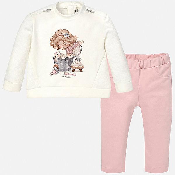 Комплект: футболка с длинным рукавом и леггинсы для девочки MayoralКомплекты<br>Комплект лонгслив+леггинсы нежного розового  цвета торговой марки    Майорал -Mayoral. В комплект входит футболка и леггинсы. Футболка выполнена в нежных розово-белых тонах и декорирована девочкой с ведром спинке есть застежка с кнопками. Леггинсы однотонные с плотной резинкой на поясе.<br><br>Дополнительная информация: <br><br>-цвет: кремовый<br>-состав: хлопок 97%,эластан 3%<br>-длина рукава: длинные<br>-параметры брючин: ширина брючин - низ: 12 см; длина по внутреннему шву: 21 см<br>-вид застежки: без застежки<br>-покрой: прямой<br>-фактура материала: трикотажный<br>-тип карманов: без карманов<br>-уход за вещами: бережная стирка при 30 градусах<br>-рисунок: без рисунка<br>-длина изделия: верх: 40 см; низ: 35 см<br>-плотность: утеплителя: 0 г/кв.м<br>-утеплитель: без утепления<br>-назначение: повседневная<br>-сезон: круглогодичный<br>-пол: девочки<br>-страна бренда: Испания<br>-страна производитель: Индия<br>-комплектация: леггинсы<br><br>Комплект торговой марки    Майорал  можно купить в нашем интернет-магазине.<br><br>Ширина мм: 123<br>Глубина мм: 10<br>Высота мм: 149<br>Вес г: 209<br>Цвет: лиловый<br>Возраст от месяцев: 6<br>Возраст до месяцев: 9<br>Пол: Женский<br>Возраст: Детский<br>Размер: 74,92,86,80<br>SKU: 4846184