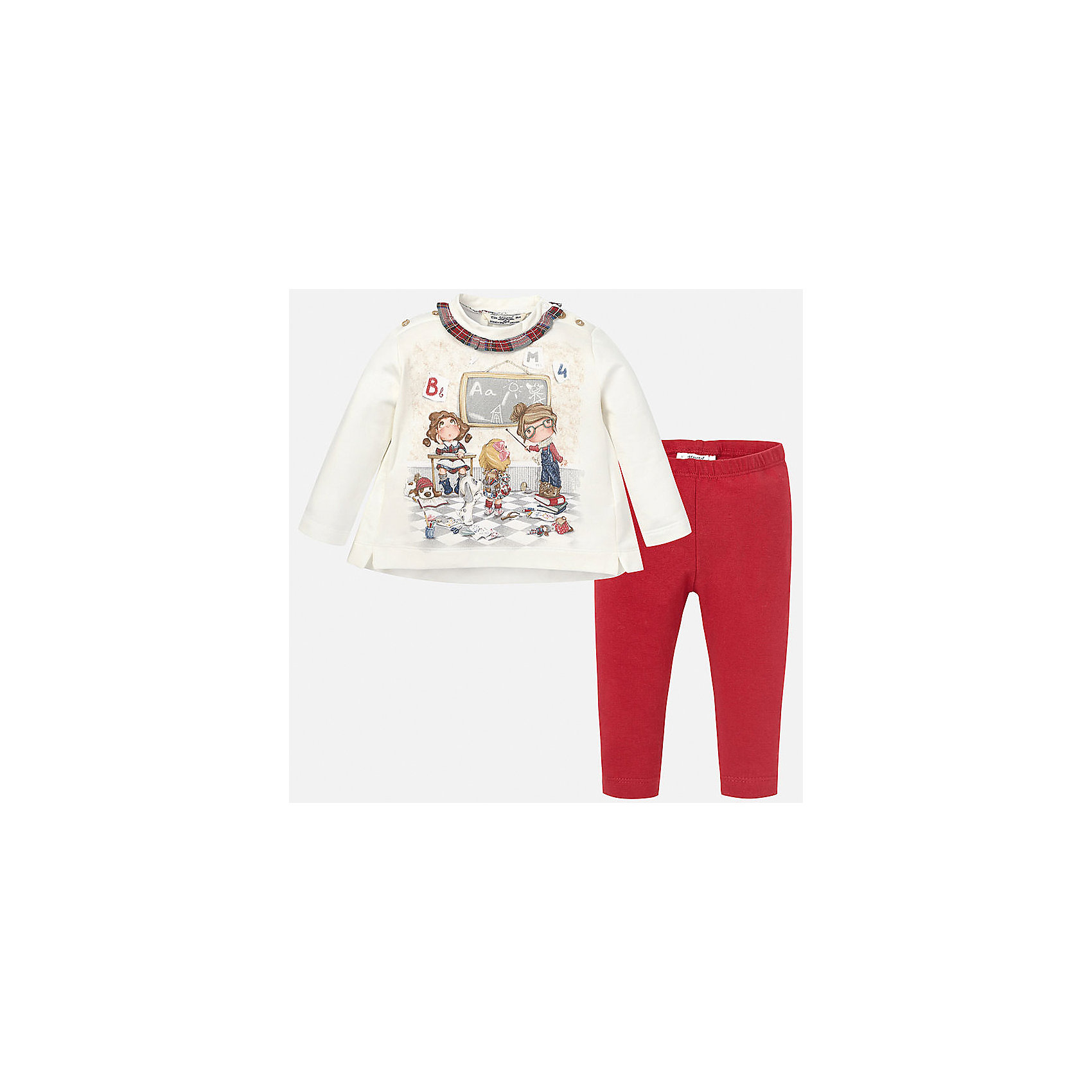Комплект:футболка и леггинсы для девочки MayoralКомплекты<br>Нарядный комплект для Вашей любимой модницы торговой марки  Майорал-Mayoral будет приятным пополнением ее гардероба. Изделие грамотно скроено, обеспечивая отличную посадку по фигуре. Аккуратно швы не доставят дискомфорта. В комплект входит хлопковые лонгслив и леггинсы. Нежный лонгслив декорирован рюшами, бантиком на спинке и очаровательным принтом с изображением учеников. Для удобства переодевания лонгслив дополнен кнопками, а однотонные леггинсы  красного цвета эластичной резинкой на поясе.<br><br>Дополнительная информация:<br><br>- вид застежки: без застежки <br>- цвет: красный,  белый<br>- тип карманов: втачные <br>- параметры брючин: ширина брючин – низ: 9 см; по внутреннему шву ; 21 см<br>- фактура материала: текстильный<br>- покрой: прямой<br>- состав: 95% хлопка; 5% эластан<br>- длина  изделия: верх 38 см. низ 31 см<br>- уход за вещами: бережная стирка при 30 градусах<br>- рисунок: с  рисунком<br>- материал: трикотаж<br>- назначение: повседневная<br>- сезон: круглогодичный<br>- пол: девочки<br>- страна бренда: Испания<br>- страна производитель:  Индия<br>- комплектация: лонгслив, леггинсы <br><br>Комплект торговой марки  Майорал-Mayoral можно купить в нашем интернет магазине.<br><br>Ширина мм: 123<br>Глубина мм: 10<br>Высота мм: 149<br>Вес г: 209<br>Цвет: красный<br>Возраст от месяцев: 6<br>Возраст до месяцев: 9<br>Пол: Женский<br>Возраст: Детский<br>Размер: 74,86,80,92<br>SKU: 4846204