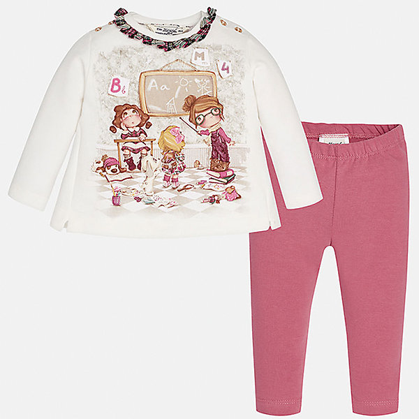 Комплект:футболка и леггинсы для девочки MayoralКомплекты<br>Комплект от Mayoral - стильный и практичный вариант для юных модниц! Футболка с длинным рукавом оформлена ярким принтом, контрастной оборкой по вороту, спинка декорирована небольшими складками и бантом. Ярко-розовые леггинсы на поясе с резинкой отлично смотрятся на фигуре, не вытягиваются, не сковывают движения.<br><br>Дополнительная информация:<br><br>- Мягкая трикотажная ткань.<br>- Комплектация: футболка с длинным рукавом, леггинсы. <br>- Футболка застегивается на кнопки на плечах.<br>- Округлый вырез горловины.<br>- Принт, контрастная оборка.<br>- Декоративные складки, бант на спине. <br>- Леггинсы на эластичном поясе с резинкой.  <br>Состав: <br> 95% хлопок,  5% эластан.<br><br>Комплект: футболку и леггинсы для девочки Mayoral (Майорал), белый/розовый, можно купить в нашем магазине.<br>Ширина мм: 123; Глубина мм: 10; Высота мм: 149; Вес г: 209; Цвет: красный; Возраст от месяцев: 6; Возраст до месяцев: 9; Пол: Женский; Возраст: Детский; Размер: 86,80,92,74; SKU: 4846209;