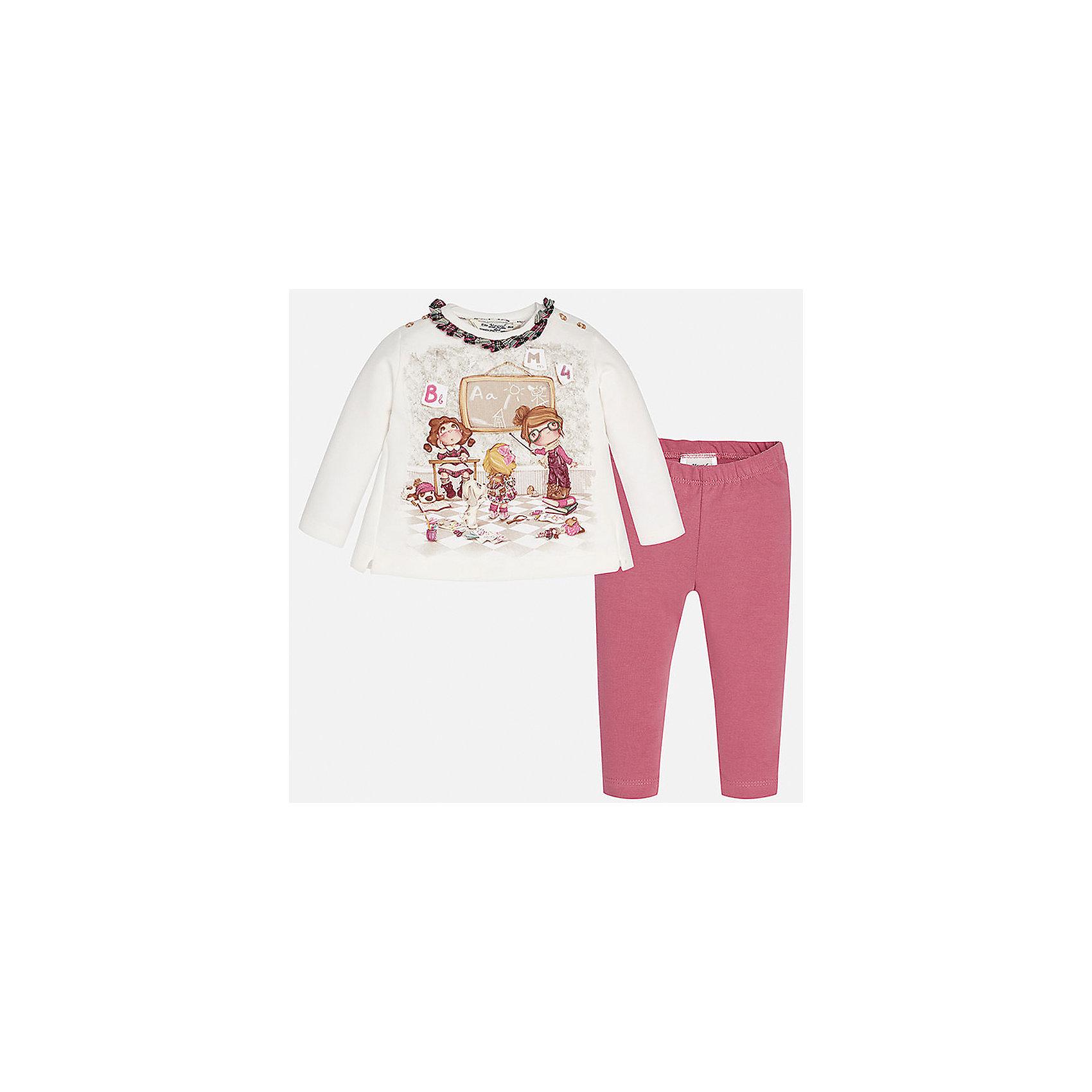 Комплект:футболка и леггинсы для девочки MayoralКомплекты<br>Комплект от Mayoral - стильный и практичный вариант для юных модниц! Футболка с длинным рукавом оформлена ярким принтом, контрастной оборкой по вороту, спинка декорирована небольшими складками и бантом. Ярко-розовые леггинсы на поясе с резинкой отлично смотрятся на фигуре, не вытягиваются, не сковывают движения.<br><br>Дополнительная информация:<br><br>- Мягкая трикотажная ткань.<br>- Комплектация: футболка с длинным рукавом, леггинсы. <br>- Футболка застегивается на кнопки на плечах.<br>- Округлый вырез горловины.<br>- Принт, контрастная оборка.<br>- Декоративные складки, бант на спине. <br>- Леггинсы на эластичном поясе с резинкой.  <br>Состав: <br> 95% хлопок,  5% эластан.<br><br>Комплект: футболку и леггинсы для девочки Mayoral (Майорал), белый/розовый, можно купить в нашем магазине.<br><br>Ширина мм: 123<br>Глубина мм: 10<br>Высота мм: 149<br>Вес г: 209<br>Цвет: красный<br>Возраст от месяцев: 6<br>Возраст до месяцев: 9<br>Пол: Женский<br>Возраст: Детский<br>Размер: 74,80,86,92<br>SKU: 4846209