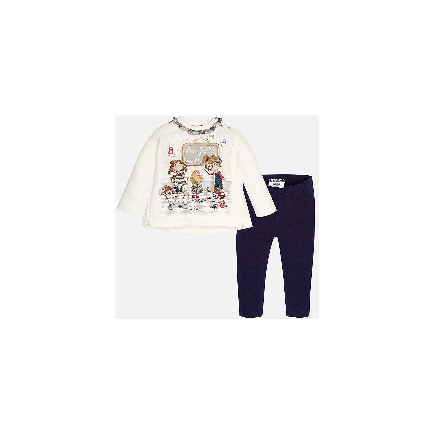 Комплект:футболка и леггинсы для девочки MayoralКомплекты<br>Прекрасный комплект торговой марки  Майорал-Mayoral станет незаменимой вещью в повседневном гардеробе юных модниц. Комплект толстовка+леггинсы тёмно-синего цвета из приятной на ощупь и мягкой ткани. Комплект декорирован красивым принтом с изображением учеников. Толстовка дополнена кнопками на плече для удобства переодевания. Однотонные леггинсы дополнены эластичной резинкой на поясе.<br><br>Дополнительная информация:<br><br>- вид застежки: без застежки <br>- цвет: синий,  белый<br>- тип карманов: втачные <br>- параметры брючин: ширина брючин – низ: 9 см; по внутреннему шву ; 21 см<br>- фактура материала: текстильный<br>- покрой: прямой<br>- состав: 95% хлопка; 5% эластан<br>- длина  изделия: верх 38 см. низ 31 см<br>- уход за вещами: бережная стирка при 30 градусах<br>- рисунок: с  рисунком<br>- материал: трикотаж<br>- назначение: повседневная<br>- сезон: круглогодичный<br>- пол: девочки<br>- страна бренда: Испания<br>- страна производитель:  Индия<br>- комплектация: лонгслив, леггинсы <br><br>Комплект торговой марки  Майорал-Mayoral можно купить в нашем интернет магазине.<br><br>Ширина мм: 123<br>Глубина мм: 10<br>Высота мм: 149<br>Вес г: 209<br>Цвет: синий<br>Возраст от месяцев: 12<br>Возраст до месяцев: 15<br>Пол: Женский<br>Возраст: Детский<br>Размер: 80,92,74,86<br>SKU: 4846214