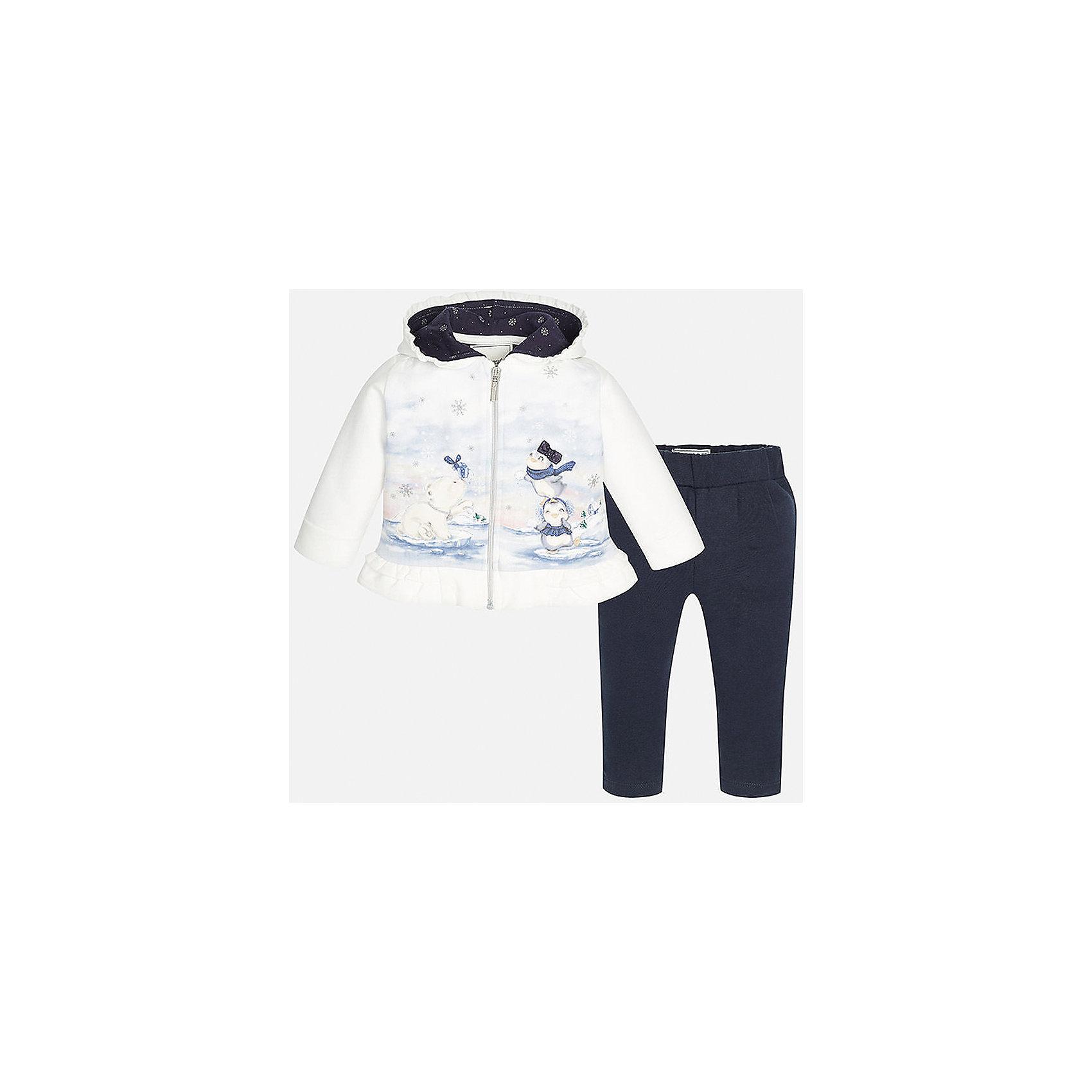 Спортивный костюм для девочки MayoralКомплекты<br>Спортивный костюм торговой марки    Майорал -Mayoral  для девочек. Спортивный костюм состоит из белой куртки с изображением симпатичных  зверушек с капюшоном и темно-синих спортивных брюк. Куртка выполнена из мягкого синтепона с утеплителем, внутри имеет флисовую подкладку; застегивается куртка на молнию. Капюшон изнутри дополнен синей подкладкой со снежинками. <br> <br>Дополнительная информация: <br><br>цвет: синий, белый<br>состав: хлопок 98%,эластан 2%<br>длина рукава: длинные<br>фактура материала: текстильный<br>вид застежки: молния<br>тип карманов: втачные<br>параметры брючин: ширина брючин - низ: 9 см; длина по внутреннему шву: 21 см<br>покрой: прямой<br>утеплитель: синтепон<br>уход за вещами: бережная стирка при 30 градусах<br>рисунок: с рисунком<br>длина изделия: верх: 38 см; низ: 31 см<br>плотность: утеплителя: 1 г/кв.м<br>назначение: повседневная<br>сезон: осень, зима, весна<br>пол: девочки<br>страна бренда: Испания<br>страна производитель: Индия<br>комплектация: куртка, брюки<br><br>Спортивный костюм    торговой марки    Майорал  можно купить в нашем интернет-магазине.<br><br>Ширина мм: 247<br>Глубина мм: 16<br>Высота мм: 140<br>Вес г: 225<br>Цвет: синий<br>Возраст от месяцев: 6<br>Возраст до месяцев: 9<br>Пол: Женский<br>Возраст: Детский<br>Размер: 74,80,86,92<br>SKU: 4846238