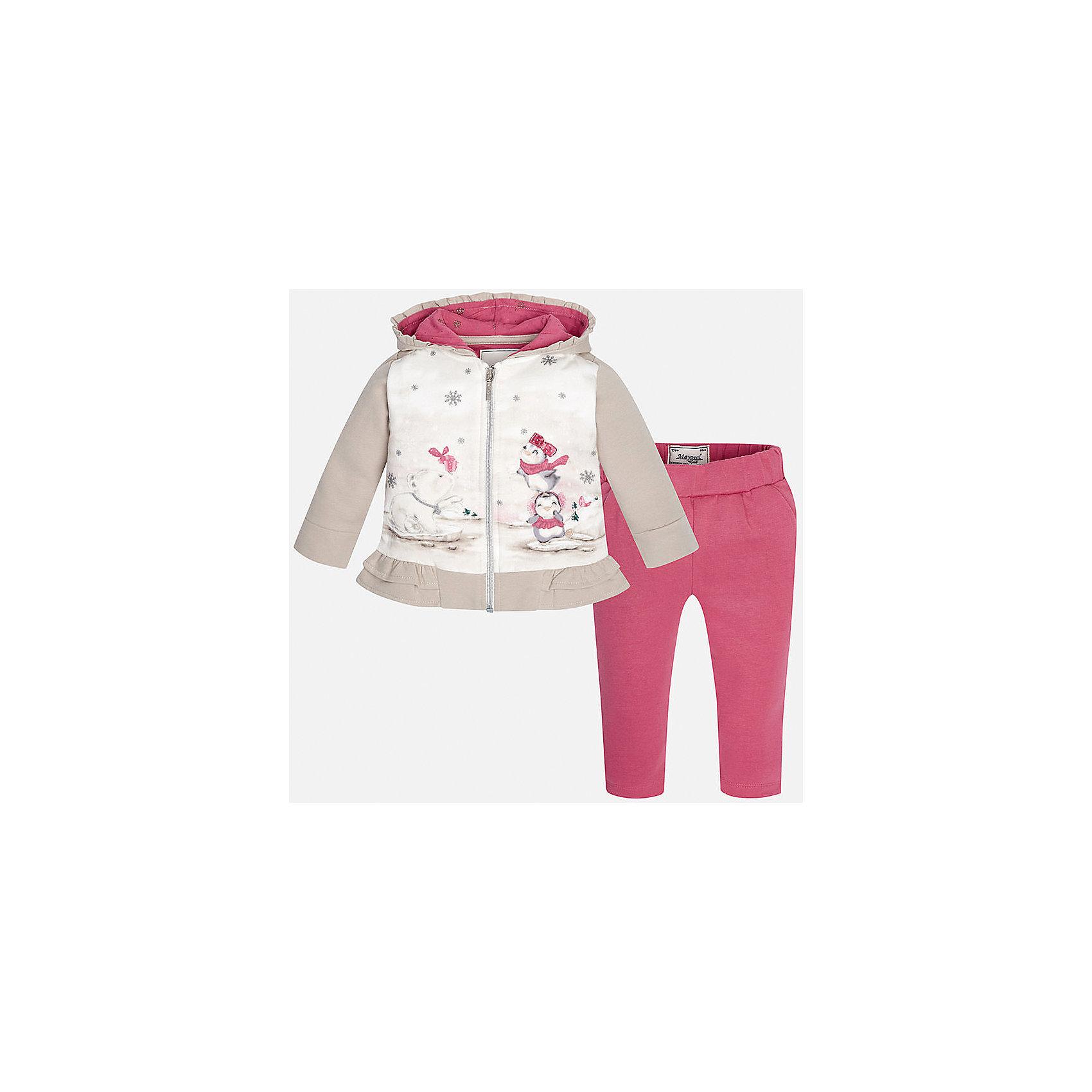 Спортивный костюм для девочки MayoralКомплекты<br>Очаровательный спортивный костюм займет достойное место в гардеробе юной модницы! Толстовка, декорированная ярким принтом и оборкой по низу, дополнена глубоким капюшоном с контрастной подкладкой. Леггинсы на эластичном поясе с резинкой выполнены из натурального хлопка с добавлением нитей эластана, прекрасно облегают фигуру и не сковывают движения.<br><br>Дополнительная информация:<br><br>- Мягкая, приятная на ощупь ткань.<br>- Комплектация: толстовка, леггинсы.<br>- Толстовка с капюшоном на подкладке. <br>- Застегивается на молнию.<br>- Яркий принт.<br>- Леггинсы на эластичном поясе.<br>Состав: <br>- толстовка - 70% хлопок, 25% полиэстер, 5% эластан; леггинсы - 95% хлопок, 5% эластан.<br><br>Спортивный костюм для девочки Mayoral (Майорал), розовый/серый, можно купить в нашем магазине.<br><br>Ширина мм: 247<br>Глубина мм: 16<br>Высота мм: 140<br>Вес г: 225<br>Цвет: красный<br>Возраст от месяцев: 6<br>Возраст до месяцев: 9<br>Пол: Женский<br>Возраст: Детский<br>Размер: 74,86,92,80<br>SKU: 4846248