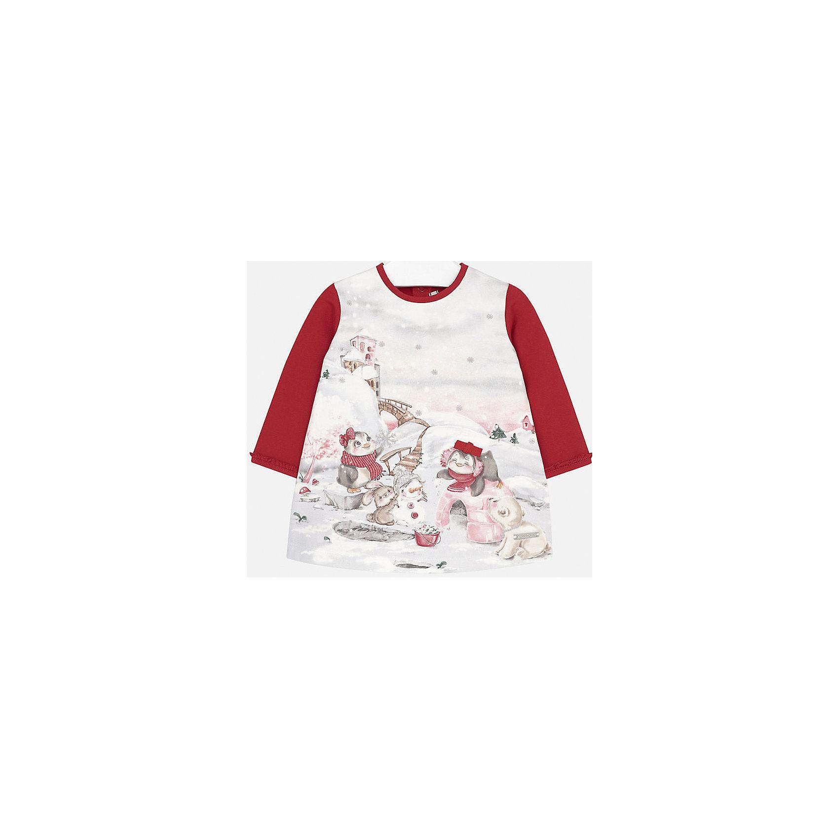 Платье для девочки MayoralПлатье торговой марки    Майорал -Mayoral  -  это очень стильно, модно и практично! Модное трикотажное платье в стиле casual с красным принтом впереди. Несомненно в таком платье Ваша дочка будет очень стильной.<br><br>Дополнительная информация: <br><br>-  цвет: красный<br>-  состав: хлопок 95%,эластан 5%<br>-  вырез горловины: округлый<br>-  длина рукава: длинные<br>-  длина изделия: по спинке: 38 см<br>-  вид застежки: без застежки<br>-  покрой: прямой<br>-  фактура материала: трикотажный<br>-  длина юбки: миди<br>-  тип карманов: без карманов<br>-  уход за вещами: бережная стирка при 30 градусах<br>-  назначение: повседневная<br>-  конструктивные элементы: без разреза<br>-  сезон: круглогодичный<br>-  пол: девочки<br>-  страна бренда: Испания<br>-  страна производитель: Индия<br>-  комплектация: платье<br><br>Платье для девочки торговой марки Mayoral можно купить в нашем интернет-магазине.<br><br>Ширина мм: 236<br>Глубина мм: 16<br>Высота мм: 184<br>Вес г: 177<br>Цвет: красный<br>Возраст от месяцев: 12<br>Возраст до месяцев: 18<br>Пол: Женский<br>Возраст: Детский<br>Размер: 86,80,74,92<br>SKU: 4846258