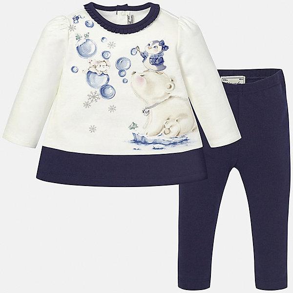 Комплект: футболка с длинным рукавом и леггинсы для девочки MayoralКомплекты<br>Комплект платье+леггинсы тёмно-синего цвета торговой марки  Майорал-Mayoral для девочек. В комплект входят платье и леггинсы, выполненные из хлопка. Мягкое платье с длинным рукавом украшено рюшами по горловине, а также нежным принтом с блёстками и изображением милых зверушек. Платье застёгивается на кнопки на спинке для удобства переодевания,  а однотонные эластичные леггинсы дополнены удобной широкой резинкой на поясе.<br><br>Дополнительная информация:<br><br>- вид застежки: кнопки <br>- цвет: синий, белый<br>- тип карманов: втачные <br>- параметры брючин: ширина брючин – низ: 9 см; по внутреннему шву ; 21 см<br>- фактура материала: текстильный<br>- покрой: прямой<br>- состав: 95% хлопка; 5% эластан<br>- длина  изделия: верх 38 см. низ 31 см<br>- уход за вещами: бережная стирка при 30 градусах<br>- рисунок: с  рисунком<br>- материал: трикотаж<br>- назначение: повседневная<br>- сезон: осень, зима<br>- пол: девочки<br>- страна бренда: Испания<br>- страна производитель:  Индия<br>- комплектация: платье, леггинсы <br><br>комплект торговой марки  Майорал-Mayoral можно купить в нашем интернет магазине.<br><br>Ширина мм: 236<br>Глубина мм: 16<br>Высота мм: 184<br>Вес г: 177<br>Цвет: синий<br>Возраст от месяцев: 6<br>Возраст до месяцев: 9<br>Пол: Женский<br>Возраст: Детский<br>Размер: 74,92,86,80<br>SKU: 4846268