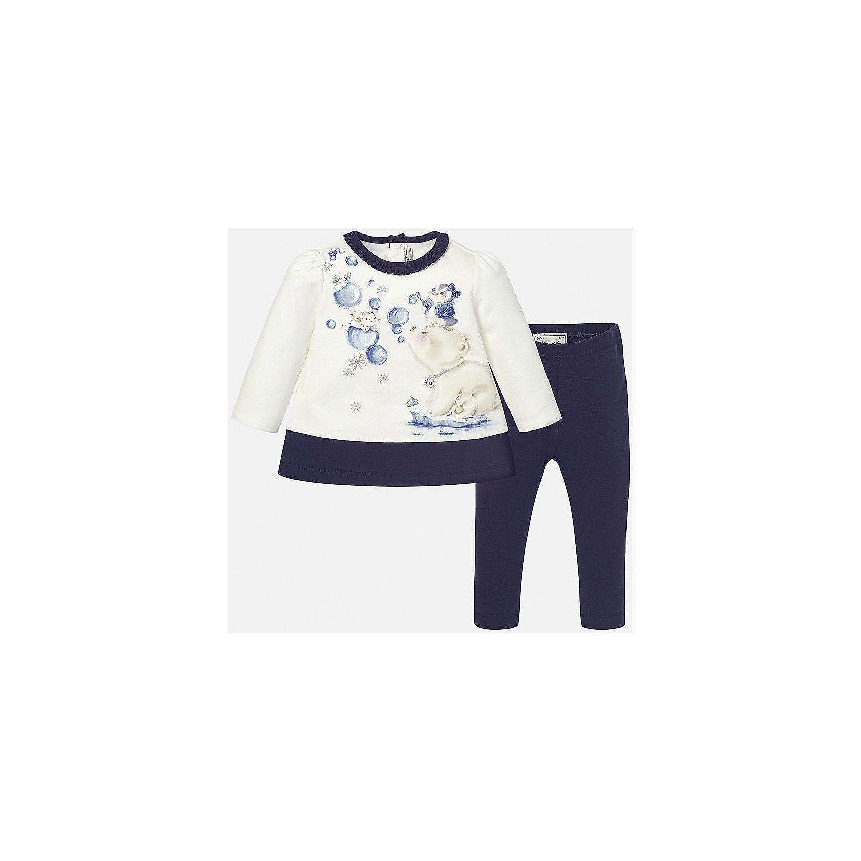 Комплект: футболка с длинным рукавом и леггинсы для девочки MayoralКомплекты<br>Комплект платье+леггинсы тёмно-синего цвета торговой марки  Майорал-Mayoral для девочек. В комплект входят платье и леггинсы, выполненные из хлопка. Мягкое платье с длинным рукавом украшено рюшами по горловине, а также нежным принтом с блёстками и изображением милых зверушек. Платье застёгивается на кнопки на спинке для удобства переодевания,  а однотонные эластичные леггинсы дополнены удобной широкой резинкой на поясе.<br><br>Дополнительная информация:<br><br>- вид застежки: кнопки <br>- цвет: синий, белый<br>- тип карманов: втачные <br>- параметры брючин: ширина брючин – низ: 9 см; по внутреннему шву ; 21 см<br>- фактура материала: текстильный<br>- покрой: прямой<br>- состав: 95% хлопка; 5% эластан<br>- длина  изделия: верх 38 см. низ 31 см<br>- уход за вещами: бережная стирка при 30 градусах<br>- рисунок: с  рисунком<br>- материал: трикотаж<br>- назначение: повседневная<br>- сезон: осень, зима<br>- пол: девочки<br>- страна бренда: Испания<br>- страна производитель:  Индия<br>- комплектация: платье, леггинсы <br><br>комплект торговой марки  Майорал-Mayoral можно купить в нашем интернет магазине.<br><br>Ширина мм: 236<br>Глубина мм: 16<br>Высота мм: 184<br>Вес г: 177<br>Цвет: синий<br>Возраст от месяцев: 12<br>Возраст до месяцев: 18<br>Пол: Женский<br>Возраст: Детский<br>Размер: 86,92,80,74<br>SKU: 4846268