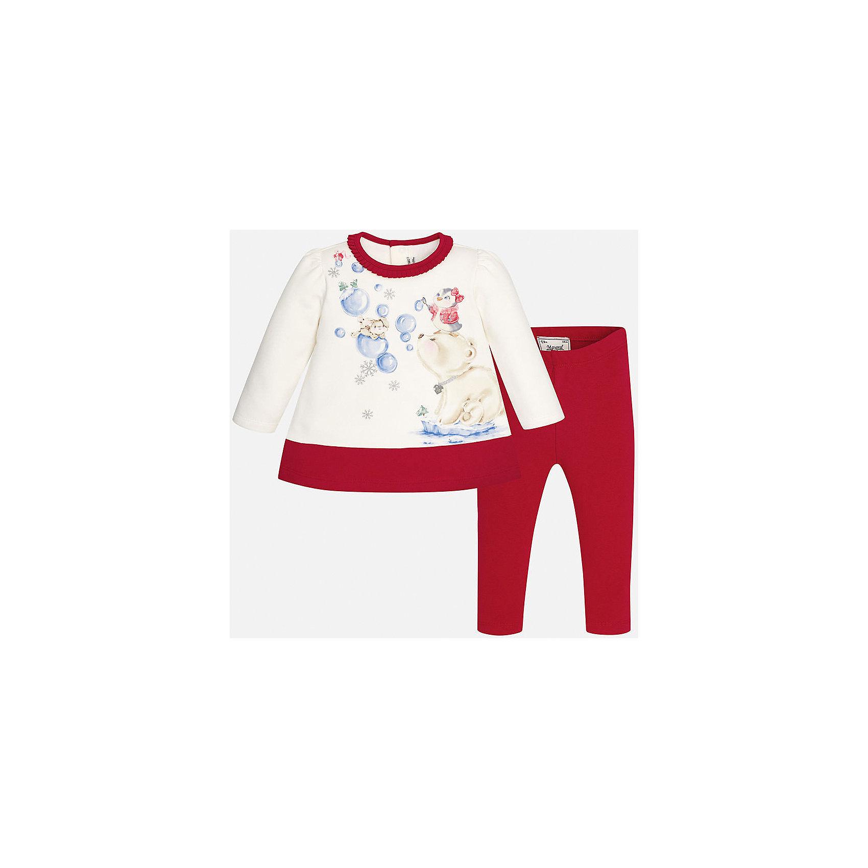 Комплект: футболка с длинным рукавом и леггинсы для девочки MayoralКомплекты<br>Комплект торговой марки  Майорал-Mayoral идеально подойдет для стильных и модных девочек. В комплект входят платье и леггинсы красного цвета, выполненные из хлопка. Ткань платья  очень приятая на ощупь,  с длинным рукавом украшено нежным принтом с блёстками и изображением милых зверушек, а также рюшами по горловине,. Платье застёгивается на кнопки на спинке для удобства переодевания,  а однотонные эластичные леггинсы дополнены удобной широкой резинкой на поясе.<br><br>Дополнительная информация:<br><br>- вид застежки: кнопки <br>- цвет: синий, белый<br>- тип карманов: втачные <br>- параметры брючин: ширина брючин – низ: 9 см; по внутреннему шву ; 21 см<br>- фактура материала: текстильный<br>- покрой: прямой<br>- состав: 95% хлопка; 5% эластан<br>- длина  изделия: верх 38 см. низ 31 см<br>- уход за вещами: бережная стирка при 30 градусах<br>- рисунок: с  рисунком<br>- материал: трикотаж<br>- назначение: повседневная<br>- сезон: осень, зима<br>- пол: девочки<br>- страна бренда: Испания<br>- страна производитель:  Индия<br>- комплектация: платье, леггинсы <br><br>комплект торговой марки  Майорал-Mayoral можно купить в нашем интернет магазине.<br><br>Ширина мм: 236<br>Глубина мм: 16<br>Высота мм: 184<br>Вес г: 177<br>Цвет: красный<br>Возраст от месяцев: 6<br>Возраст до месяцев: 9<br>Пол: Женский<br>Возраст: Детский<br>Размер: 74,86,92,80<br>SKU: 4846273