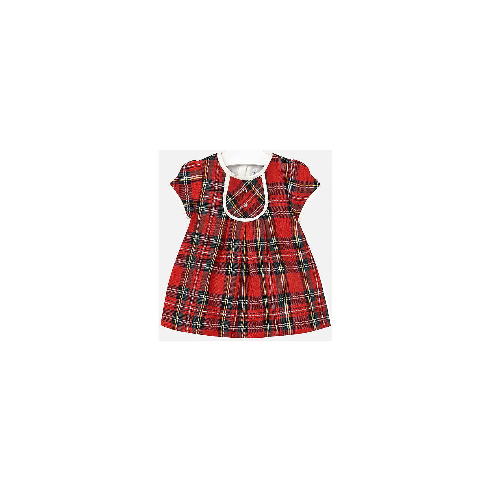 Платье для девочки MayoralПлатье торговой марки    Майорал -Mayoral  выполнено из полиэстера с небольшим добавлением вискозы, имеет короткий рукав, застегивается на молнию на спине. Имеет рисунок в клетку. Юбка имеет легкую плиссировку, линия талии завышенна. <br><br>Дополнительная информация: <br><br>- цвет: красная клетка<br>- состав: полиэстер: 65%, вискоза: 35% подкладка: хлопок: 50%, полиэстер:50%<br>- вид застежки: молния<br>- длина рукава: короткие<br>- длина изделия: по спинке: 38 см<br>- покрой: прямой<br>- фактура материала: трикотажный<br>- длина юбки: миди<br>- тип карманов: без карманов<br>- уход за вещами: бережная стирка при 30 градусах<br>- рисунок: без рисунка<br>- назначение: повседневная<br>- сезон: круглогодичный<br>- пол: девочки<br>- страна бренда: Испания<br>- комплектация: платье<br><br>Платье для девочки торговой марки Mayoral можно купить в нашем интернет-магазине.<br><br>Ширина мм: 236<br>Глубина мм: 16<br>Высота мм: 184<br>Вес г: 177<br>Цвет: красный<br>Возраст от месяцев: 12<br>Возраст до месяцев: 15<br>Пол: Женский<br>Возраст: Детский<br>Размер: 92,80,74,86<br>SKU: 4846313
