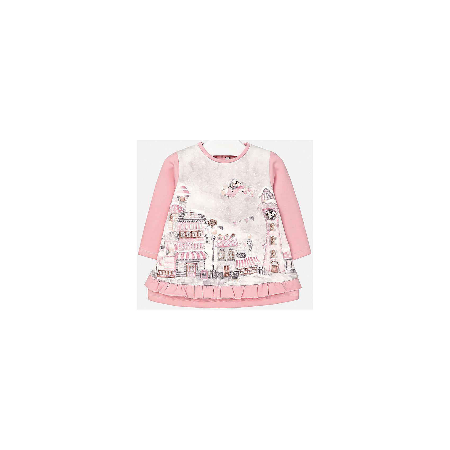Платье для девочки MayoralПлатье розового цвета торговой марки    Майорал -Mayoral  для девочек. Трикотажное платье с длинным рукавом выполнено из смешанного трикотажа (хлопок + эластан), украшено розово-сиреневым городком. Застегивается платье на две пуговицы на спине.<br><br>Дополнительная информация: <br><br>-цвет: розово-сиреневым<br>-состав: хлопок 95%,эластан 5%<br>-вырез горловины: округлый<br>-длина рукава: длинные<br>-вид застежки: кнопки<br>-длина изделия: по спинке: 38 см<br>-покрой: прямой<br>-фактура материала: трикотажный<br>-длина юбки: миди<br>-тип карманов: без карманов<br>-уход за вещами: бережная стирка при 30 градусах<br>-назначение: повседневная<br>-конструктивные элементы: без разреза<br>-сезон: круглогодичный<br>-пол: девочки<br>-страна бренда: Испания<br>-страна производитель: Китай<br>-комплектация: платье<br><br>Платье для девочки торговой марки Mayoral можно купить в нашем интернет-магазине.<br><br>Ширина мм: 236<br>Глубина мм: 16<br>Высота мм: 184<br>Вес г: 177<br>Цвет: фиолетовый<br>Возраст от месяцев: 12<br>Возраст до месяцев: 15<br>Пол: Женский<br>Возраст: Детский<br>Размер: 80,92,86,74<br>SKU: 4846347