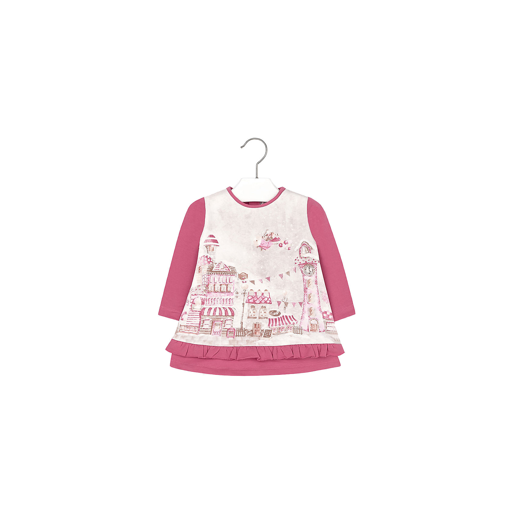 Платье для девочки MayoralПлатья<br>Яркое платье для самых ярких дней! Модель комбинированной расцветки оформлена нежным принтом и кокетливой оборкой, застегивается на кнопки на спине. Платье Mayoral изготовлено из натурального хлопка с добавлением нитей эластана, отлично смотрится на фигуре, очень приятно к телу. <br><br>Дополнительная информация:<br><br>- Мягкий трикотажный материал.<br>- Длинный рукав.<br>- Округлый вырез горловины. <br>- Нежный принт, оборки.<br>- Застегивается на кнопки на спине. <br>Состав:<br>- 95% хлопок, 5% эластан. <br><br>Платье для девочки Mayoral (Майорал), можно купить в нашем магазине.<br><br>Ширина мм: 236<br>Глубина мм: 16<br>Высота мм: 184<br>Вес г: 177<br>Цвет: красный<br>Возраст от месяцев: 6<br>Возраст до месяцев: 9<br>Пол: Женский<br>Возраст: Детский<br>Размер: 74,80,86,92<br>SKU: 4846352