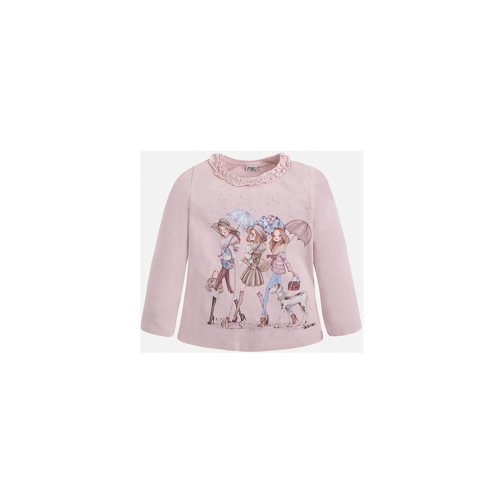 Футболка для девочки MayoralФутболка с длинным рукавом для девочки от известного испанского бренда Mayoral(Майорал). Модель изготовлена из трикотажной ткани с добавлением лайкры. Спереди футболка украшена красивым принтом и оборками вокруг ворота. Отлично подойдет для повседневной носки!<br><br>Дополнительная информация: <br>Состав: 92% хлопок, 8% эластан<br>Цвет: розовый<br>Вы можете приобрести футболку для девочки Mayoral(Майорал) в нашем интернет-магазине.<br><br>Ширина мм: 199<br>Глубина мм: 10<br>Высота мм: 161<br>Вес г: 151<br>Цвет: розовый<br>Возраст от месяцев: 18<br>Возраст до месяцев: 24<br>Пол: Женский<br>Возраст: Детский<br>Размер: 92,134,122,116,104,110,128,98<br>SKU: 4846405