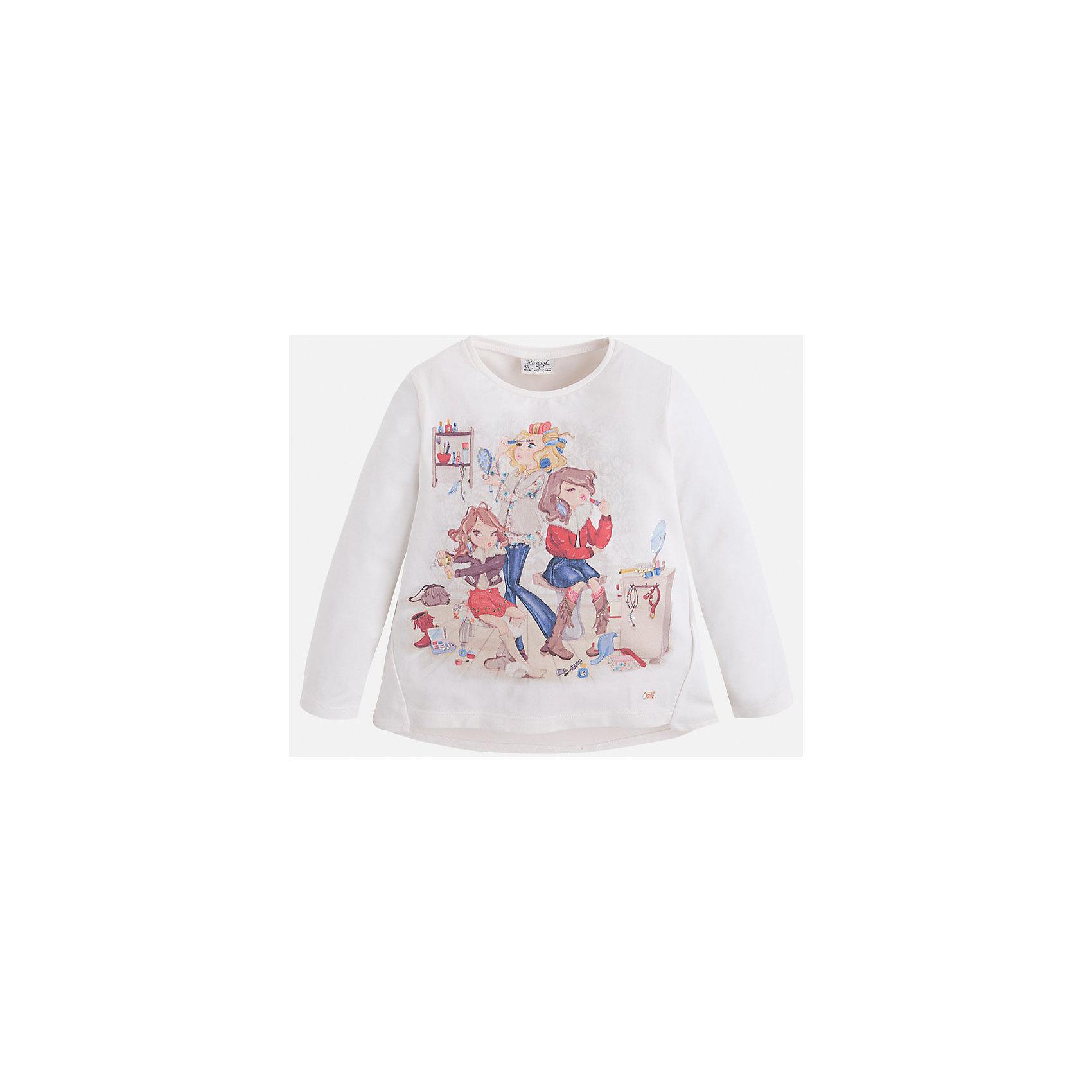 Футболка для девочки MayoralФутболка для девочки от известного испанского бренда Mayoral (Майорал). Эта модная и удобная футболка с длинным рукавом сочетает в себе стиль и простоту. Приятный молочно-белый цвет и яркий фото-принт с подружками и украшения стразами придут по вкусу вашей моднице. У футболки свободный крой, слегка расширяющийся к низу. Боковые швы выходят на лицевую нижнюю часть футболки. Отличное пополнение для сезона осень-зима. К этой футболке подойдут как классические юбки и брюки, так и джинсы или штаны спортивного кроя. <br><br>Дополнительная информация:<br><br>- Силуэт: расширяющийся к низу<br>- Рукав: длинный<br>- Длина: средняя<br><br>Состав: 92% хлопок, 8% эластан<br><br>Футболку для девочки Mayoral (Майорал) можно купить в нашем интернет-магазине.<br><br>Подробнее:<br>• Для детей в возрасте: от 4 до 9 лет<br>• Номер товара: 4846484<br>Страна производитель: Индия<br><br>Ширина мм: 199<br>Глубина мм: 10<br>Высота мм: 161<br>Вес г: 151<br>Цвет: белый<br>Возраст от месяцев: 48<br>Возраст до месяцев: 60<br>Пол: Женский<br>Возраст: Детский<br>Размер: 110,92,134,98,116,122,128,104<br>SKU: 4846484