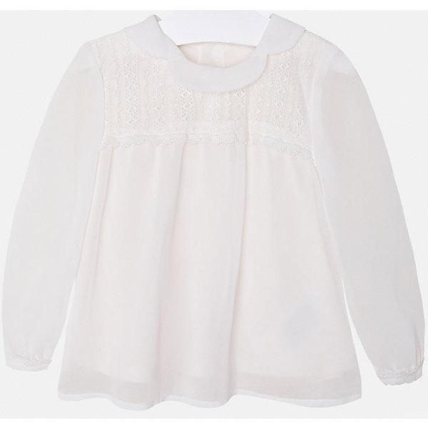 Блузка для девочки MayoralОдежда<br>Нарядная кремовая блузка для девочки торговой марки    Майорал -Mayoral<br>Блуза кремового цвета, свободного кроя, с красивыотложным воротничком. Будет прекрасным дополнением для нарядного образа Вашей девочки.<br><br>Дополнительная инфориация:<br><br>- вид застежки: пуговицы<br>- длина рукава: длинные<br>- фактура материала: текстильный<br>- длина изделия: по спинке: 48 см<br>- покрой: прямой<br>- состав:100% полиэстер; подкладка: 100% хлопок<br>- уход за вещами: бережная стирка при 30 градусах<br>- рисунок: без рисунка<br>- назначение: повседневная<br>- сезон: круглогодичный<br>- пол: девочки<br>- страна бренда: Испания<br>- страна производитель:  Индия<br>- комплектация: блузка<br><br>Блуза для девочки  торговой марки    Майорал можно купить в нашем интернет магазине<br><br>Ширина мм: 186<br>Глубина мм: 87<br>Высота мм: 198<br>Вес г: 197<br>Цвет: бежевый<br>Возраст от месяцев: 36<br>Возраст до месяцев: 48<br>Пол: Женский<br>Возраст: Детский<br>Размер: 104,116,128,98,122,134,110<br>SKU: 4846536
