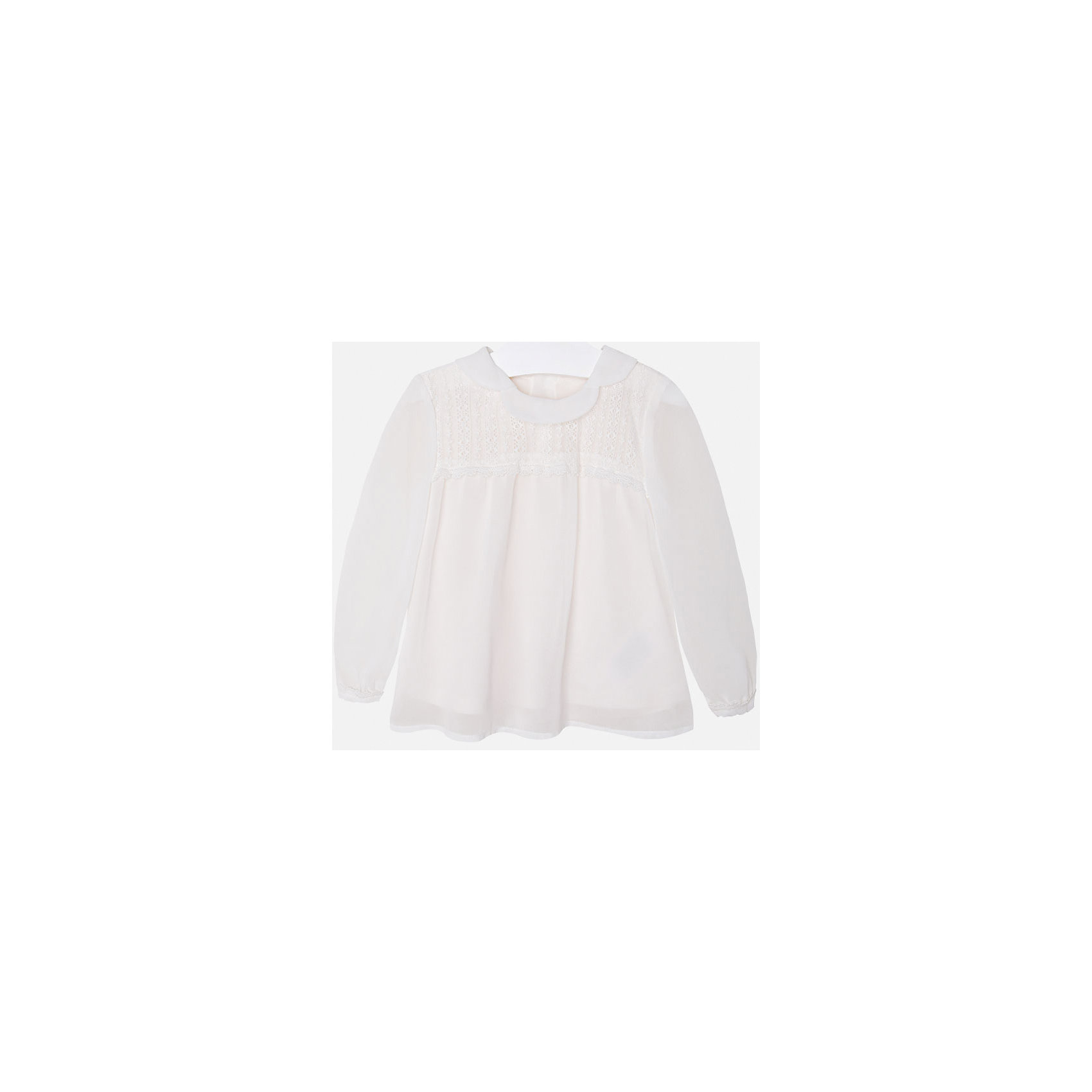 Блузка для девочки MayoralНарядная кремовая блузка для девочки торговой марки    Майорал -Mayoral<br>Блуза кремового цвета, свободного кроя, с красивыотложным воротничком. Будет прекрасным дополнением для нарядного образа Вашей девочки.<br><br>Дополнительная инфориация:<br><br>- вид застежки: пуговицы<br>- длина рукава: длинные<br>- фактура материала: текстильный<br>- длина изделия: по спинке: 48 см<br>- покрой: прямой<br>- состав:100% полиэстер; подкладка: 100% хлопок<br>- уход за вещами: бережная стирка при 30 градусах<br>- рисунок: без рисунка<br>- назначение: повседневная<br>- сезон: круглогодичный<br>- пол: девочки<br>- страна бренда: Испания<br>- страна производитель:  Индия<br>- комплектация: блузка<br><br>Блуза для девочки  торговой марки    Майорал можно купить в нашем интернет магазине<br><br>Ширина мм: 186<br>Глубина мм: 87<br>Высота мм: 198<br>Вес г: 197<br>Цвет: бежевый<br>Возраст от месяцев: 24<br>Возраст до месяцев: 36<br>Пол: Женский<br>Возраст: Детский<br>Размер: 98,110,134,122,128,116,104<br>SKU: 4846536