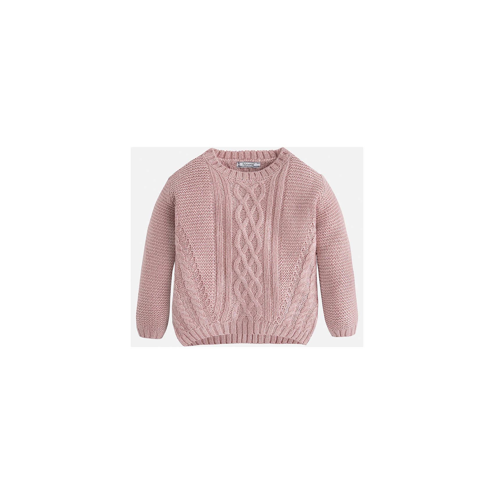 Свитер для девочки MayoralВязаный свитер  пудрового цвета торговой марки    Майорал -Mayoral для девочек.<br>Свитер выполнен из акрила. Изделие из  мягкого трикотажа с рукавами реглан, впереди украшено узором, будет прекрасно сочетаться с джинсами и брюками.<br><br>Дополнительная информация: <br><br>- цвет: нежно-розовый<br>- состав: акрил 100%<br>- фактура материала: текстильный<br>- тип карманов: без карманов<br>- уход за вещами: бережная стирка при 30 градусах<br>- рисунок: с рисунком<br>- назначение: повседневная<br>- сезон: круглогодичный<br>- пол: девочки<br>- страна бренда: Испания<br>- комплектация: свитер<br><br>Свитер для девочки торговой марки Mayoral можно купить в нашем интернет-магазине.<br><br>Ширина мм: 190<br>Глубина мм: 74<br>Высота мм: 229<br>Вес г: 236<br>Цвет: розовый<br>Возраст от месяцев: 60<br>Возраст до месяцев: 72<br>Пол: Женский<br>Возраст: Детский<br>Размер: 116,98,122,110,134,104,128<br>SKU: 4846603
