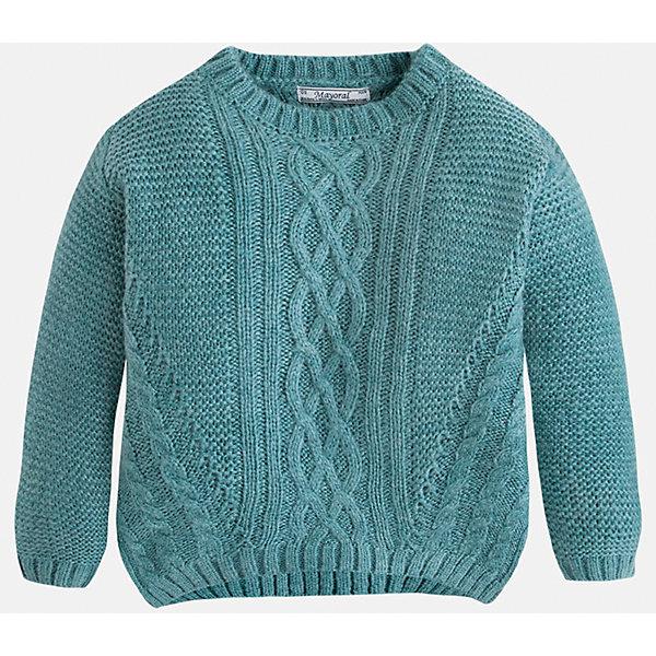 Свитер для девочки MayoralСвитера и кардиганы<br>Вязаный свитер  цвета морской волны торговой марки    Майорал -Mayoral для девочек.<br>Свитер выполнен из акрила.  Изделие из  мягкого трикотажа с рукавами реглан, впереди украшено узором, будет прекрасно сочетаться с джинсами и брюками.<br><br>Дополнительная информация: <br><br>- цвет: бирюзовый<br>- состав: акрил 100%<br>- фактура материала: текстильный<br>- тип карманов: без карманов<br>- уход за вещами: бережная стирка при 30 градусах<br>- рисунок: без рисунка<br>- назначение: повседневная<br>- сезон: круглогодичный<br>- пол: девочки<br>- страна бренда: Испания<br>- комплектация: свитер<br><br>Свитер для девочки торговой марки Mayoral можно купить в нашем интернет-магазине.<br>Ширина мм: 190; Глубина мм: 74; Высота мм: 229; Вес г: 236; Цвет: зеленый; Возраст от месяцев: 72; Возраст до месяцев: 84; Пол: Женский; Возраст: Детский; Размер: 122,128,110,98,134,116,104; SKU: 4846611;