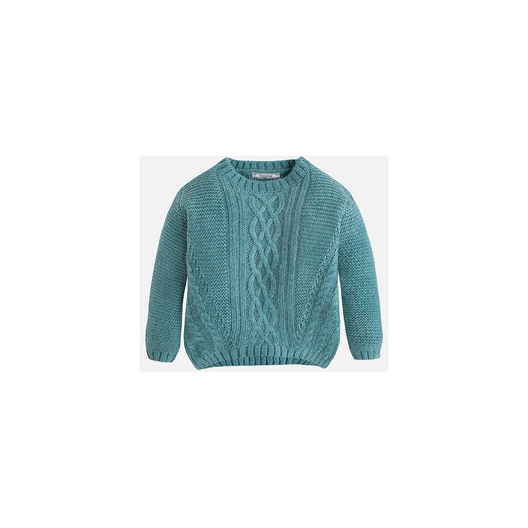 Свитер для девочки MayoralВязаный свитер  цвета морской волны торговой марки    Майорал -Mayoral для девочек.<br>Свитер выполнен из акрила.  Изделие из  мягкого трикотажа с рукавами реглан, впереди украшено узором, будет прекрасно сочетаться с джинсами и брюками.<br><br>Дополнительная информация: <br><br>- цвет: бирюзовый<br>- состав: акрил 100%<br>- фактура материала: текстильный<br>- тип карманов: без карманов<br>- уход за вещами: бережная стирка при 30 градусах<br>- рисунок: без рисунка<br>- назначение: повседневная<br>- сезон: круглогодичный<br>- пол: девочки<br>- страна бренда: Испания<br>- комплектация: свитер<br><br>Свитер для девочки торговой марки Mayoral можно купить в нашем интернет-магазине.<br><br>Ширина мм: 190<br>Глубина мм: 74<br>Высота мм: 229<br>Вес г: 236<br>Цвет: зеленый<br>Возраст от месяцев: 96<br>Возраст до месяцев: 108<br>Пол: Женский<br>Возраст: Детский<br>Размер: 128,122,104,116,134,98,110<br>SKU: 4846611