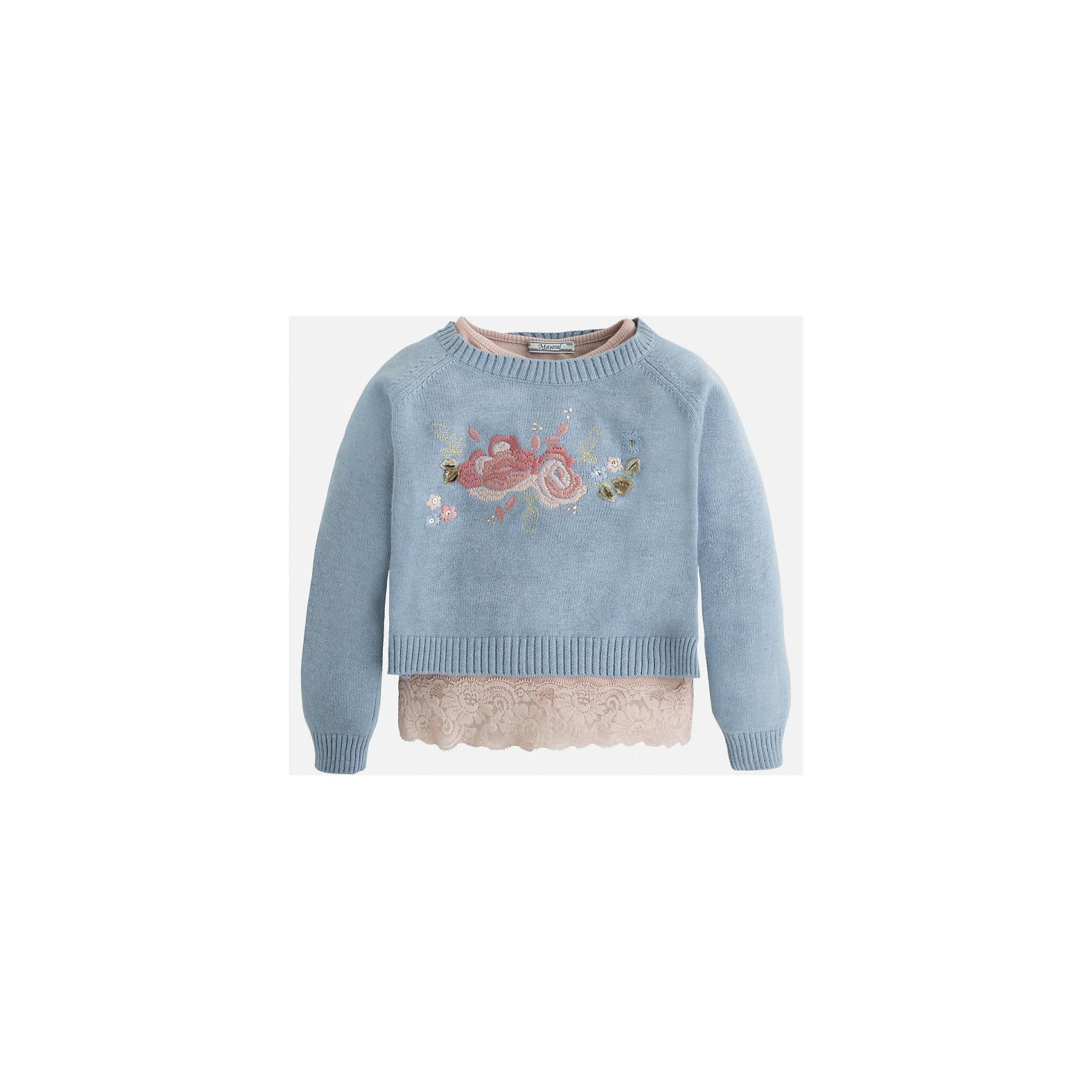 Свитер для девочки MayoralСвитера и кардиганы<br>Укороченный свитер Mayoral - отличный вариант для любого случая! Модель дополнена оригинальной майкой с кружевной отделкой, оформлена нежной вышивкой. Свитер изготовлен из высококачественных материалов, прекрасно смотрится на фигуре, не вытягивается.<br><br>Дополнительная информация:<br><br>- Укороченная модель.<br>- Майка с нежный кружевом в комплекте. <br>- Округлый вырез горловины.<br>- Нежный принт.<br>- Покрой: прямой. <br>Состав: <br>- свитер - 60% хлопок, 30%% полиамид, 10% ангора, майка - 96% вискоза, 4% эластан. <br><br>Свитер для девочки Mayoral (Майорал), можно купить в нашем магазине.<br><br>Ширина мм: 190<br>Глубина мм: 74<br>Высота мм: 229<br>Вес г: 236<br>Цвет: синий<br>Возраст от месяцев: 60<br>Возраст до месяцев: 72<br>Пол: Женский<br>Возраст: Детский<br>Размер: 116,134,92,104,98,110,122,128<br>SKU: 4846619