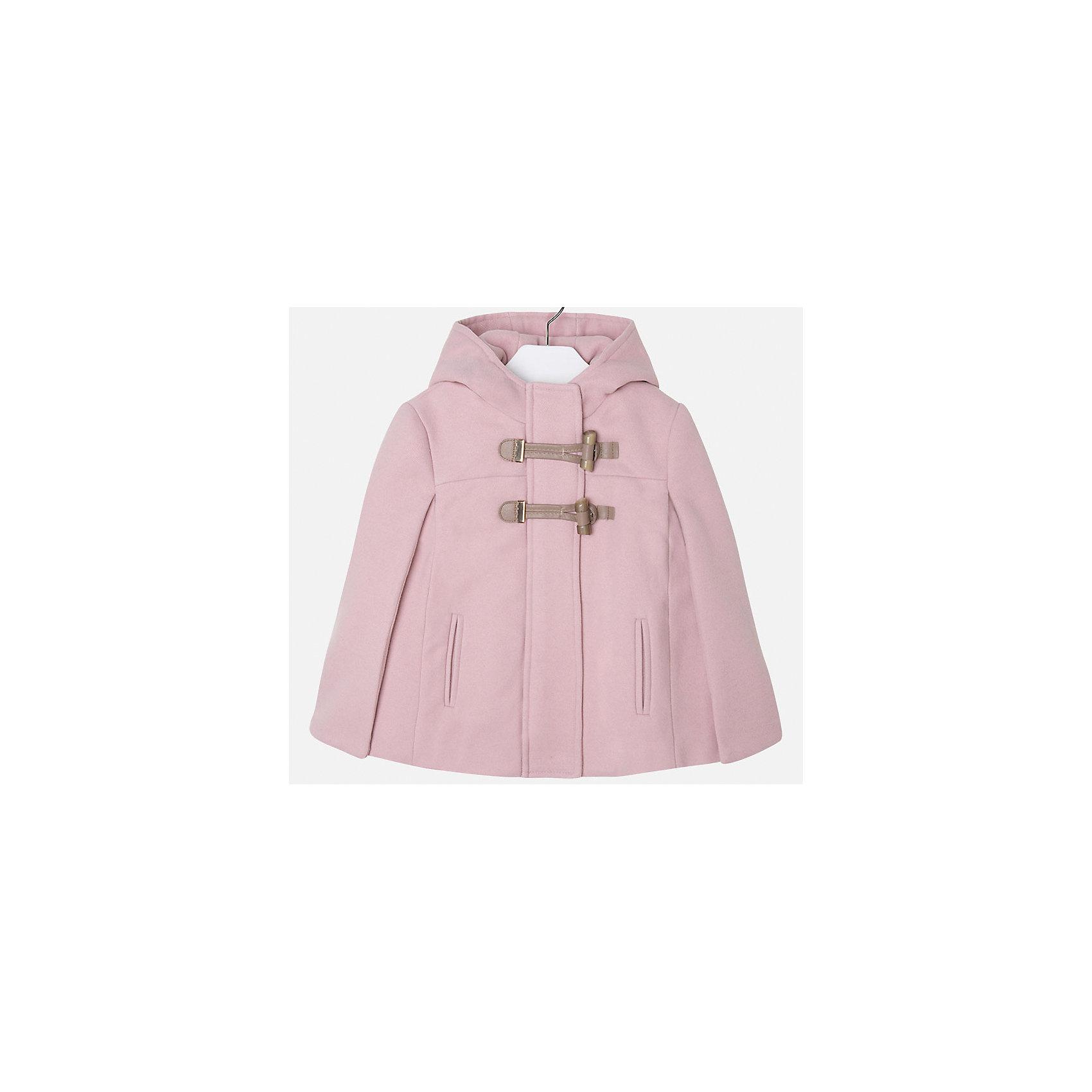 Пальто для девочки MayoralПончо для девочки от известного испанского бренда Mayoral.  Модель изготовлена из качественных тканей. Есть капюшон и две крупные застежки-пуговицы спереди. Пончо нежного розового цвета прекрасно подойдет юной принцессе!<br>Дополнительная информация:<br>-2 крупных застежки-пуговицы<br>-капюшон<br>-цвет: розовый<br>-состав: 90% полиэстер, 8% вискоза, 2% эластан<br>Пончо Mayoral вы можете приобрести в нашем интернет-магазине.<br><br>Ширина мм: 199<br>Глубина мм: 10<br>Высота мм: 161<br>Вес г: 151<br>Цвет: розовый<br>Возраст от месяцев: 60<br>Возраст до месяцев: 72<br>Пол: Женский<br>Возраст: Детский<br>Размер: 116,122,104,98,110,128,134<br>SKU: 4846668
