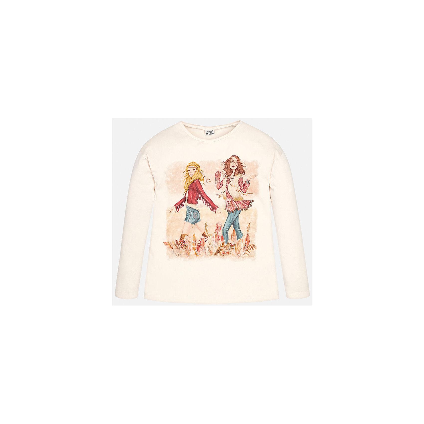 Футболка для девочки MayoralФутболка с длинным рукавом розового цвета торговой марки    Майорал -Mayoral  <br>для девочек. Милая футболка с длинным рукавом, выполненная из хлопка с добавлением эластана, декорирована принтом с изображением двух модниц. Модель дополнит и подчеркнет повседневный образ ребенка.<br><br>Дополнительная информация: <br><br>- цвет: светло- розовый<br>- состав: хлопок 92%,  эластан 8%<br>- фактура материала: текстильный<br>- тип карманов: без карманов<br>- уход за вещами: бережная стирка при 30 градусах<br>- рисунок: с рисунком<br>- назначение: повседневная<br>- сезон: круглогодичный<br>- пол: девочки<br>- страна бренда: Испания<br>- страна производитель: Индия<br>- комплектация: футболка<br><br>Футболку для девочки торговой марки Mayoral можно купить в нашем интернет-магазине.<br><br>Ширина мм: 199<br>Глубина мм: 10<br>Высота мм: 161<br>Вес г: 151<br>Цвет: белый<br>Возраст от месяцев: 156<br>Возраст до месяцев: 168<br>Пол: Женский<br>Возраст: Детский<br>Размер: 158/164,134/140,146/152,152/158,128/134,164/170<br>SKU: 4847068