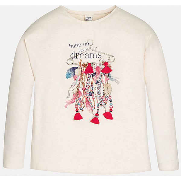 Футболка для девочки MayoralФутболки с длинным рукавом<br>Нежно-розовая футболка с длинным рукавом торговой марки    Майорал -Mayoral для девочек. Футболка с длинным рукавом, выполненная из хлопка с добавлением эластана и полиэстера, декорирована принтом с изображением модных девичьих аксессуаров. В такой футболке Ваша девочка не останется не замеченной.<br><br>Дополнительная информация: <br><br>- цвет: светло- розовый<br>- состав: хлопок 83%,  эластан 13%, полиэстер:4%<br>- фактура материала: текстильный<br>- тип карманов: без карманов<br>- уход за вещами: бережная стирка при 30 градусах<br>- рисунок: с рисунком<br>- назначение: повседневная<br>- сезон: круглогодичный<br>- пол: девочки<br>- страна бренда: Испания<br>- страна производитель: Индия<br>- комплектация: футболка<br><br>Футболку для девочки торговой марки Mayoral можно купить в нашем интернет-магазине.<br><br>Ширина мм: 199<br>Глубина мм: 10<br>Высота мм: 161<br>Вес г: 151<br>Цвет: бежевый<br>Возраст от месяцев: 96<br>Возраст до месяцев: 108<br>Пол: Женский<br>Возраст: Детский<br>Размер: 146/152,158/164,128/134,134/140,152/158,164/170<br>SKU: 4847075