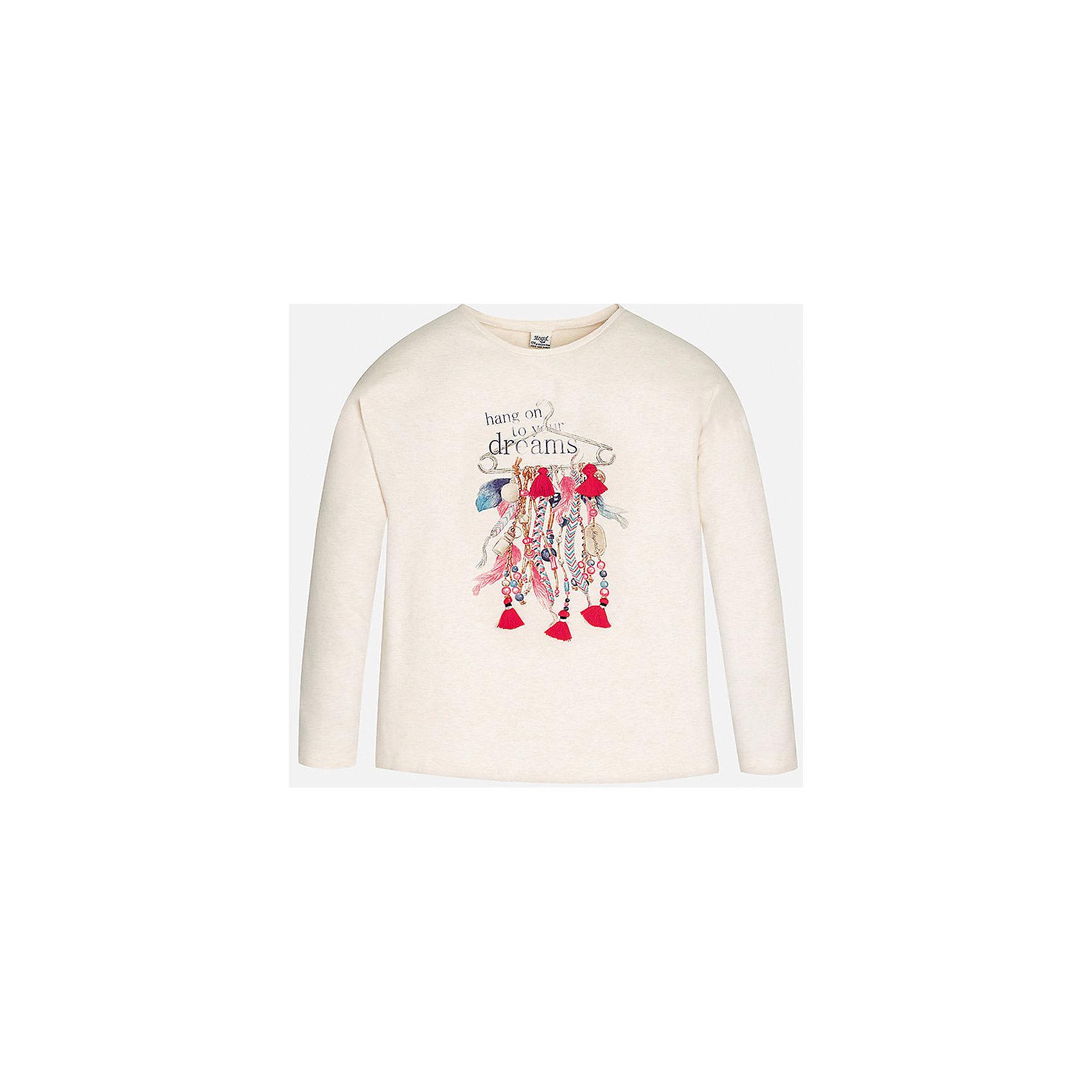 Футболка для девочки MayoralНежно-розовая футболка с длинным рукавом торговой марки    Майорал -Mayoral для девочек. Футболка с длинным рукавом, выполненная из хлопка с добавлением эластана и полиэстера, декорирована принтом с изображением модных девичьих аксессуаров. В такой футболке Ваша девочка не останется не замеченной.<br><br>Дополнительная информация: <br><br>- цвет: светло- розовый<br>- состав: хлопок 83%,  эластан 13%, полиэстер:4%<br>- фактура материала: текстильный<br>- тип карманов: без карманов<br>- уход за вещами: бережная стирка при 30 градусах<br>- рисунок: с рисунком<br>- назначение: повседневная<br>- сезон: круглогодичный<br>- пол: девочки<br>- страна бренда: Испания<br>- страна производитель: Индия<br>- комплектация: футболка<br><br>Футболку для девочки торговой марки Mayoral можно купить в нашем интернет-магазине.<br><br>Ширина мм: 199<br>Глубина мм: 10<br>Высота мм: 161<br>Вес г: 151<br>Цвет: бежевый<br>Возраст от месяцев: 96<br>Возраст до месяцев: 108<br>Пол: Женский<br>Возраст: Детский<br>Размер: 146/152,134/140,152/158,164/170,158/164,128/134<br>SKU: 4847075