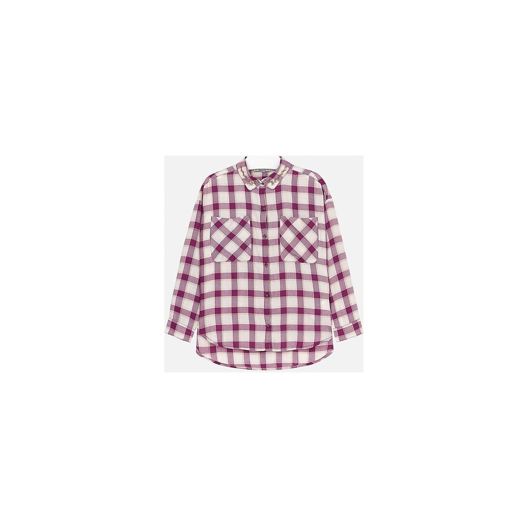 Блузка для девочки MayoralБлузка для девочки от популярного испанского бренда Mayoral(Майорал). Стильная клетчатая блузка имеет два кармана на груди, застегивается на пуговицы и украшена бусинами на воротнике. Хорошо сочетается с брюками и джинсами.<br>Дополнительная информация:<br>-длинные рукава<br>-украшена бусинами<br>-застегивается на пуговицы<br>-цвет: вишневый<br>-состав: 58% хлопок, 42% модал<br>Блузку Mayoral(Майорал) вы можете приобрести в нашем интернет-магазине.<br><br>Ширина мм: 186<br>Глубина мм: 87<br>Высота мм: 198<br>Вес г: 197<br>Цвет: розовый<br>Возраст от месяцев: 144<br>Возраст до месяцев: 156<br>Пол: Женский<br>Возраст: Детский<br>Размер: 152/158,158/164,128/134,134/140,164/170,146/152<br>SKU: 4847103