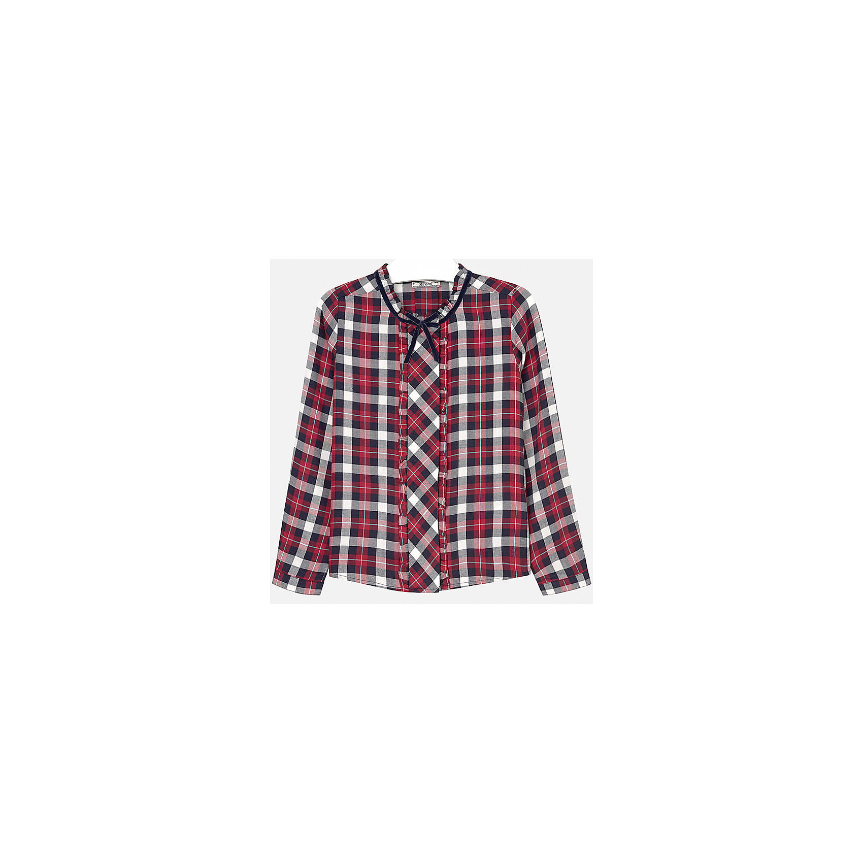 Блузка для девочки MayoralБлузка для девочки от популярного испанского бренда Mayoral(Майорал). Клетчатая блузка с длинным рукавом украшена рюшами и декоративным бантиком. Манжеты застегиваются на пуговицу. Идеальный вариант для повседневной носки.<br>Дополнительная информация:<br>-длинные рукава<br>-украшена рюшами и декоративным бантиком<br>-цвет: красный<br>-состав: 100% вискоза<br>Блузку Mayoral(Майорал) можно купить в нашем интернет-магазине.<br><br>Ширина мм: 186<br>Глубина мм: 87<br>Высота мм: 198<br>Вес г: 197<br>Цвет: красный<br>Возраст от месяцев: 144<br>Возраст до месяцев: 156<br>Пол: Женский<br>Возраст: Детский<br>Размер: 152/158,128/134,146/152,164/170,134/140,158/164<br>SKU: 4847110