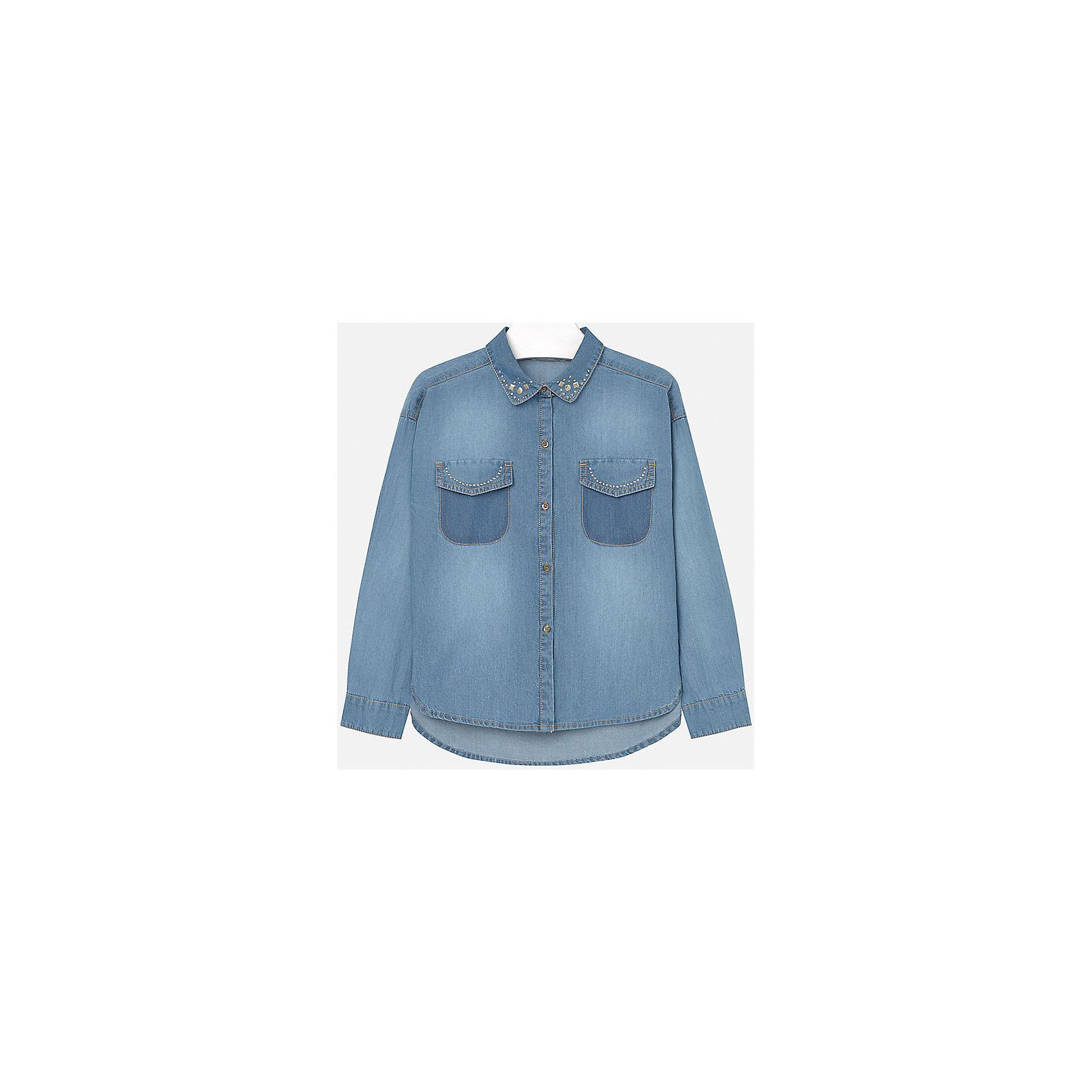 Блузка для девочки MayoralДжинсовая блузка для девочки от известного испанского бренда Mayoral(Майорал). Модель с длинным рукавом имеет 2 кармана на груди, застегивается на пуговицы и украшена стразами. Отлично дополнит гардероб ребенка.<br>Дополнительная информация:<br>-длинные рукава<br>-застегивается на пуговицы<br>-украшена стразами<br>-цвет: голубой<br>-состав: 100% хлопок<br>Блузку Mayoral(Майорал) можно купить в нашем интернет-магазине.<br><br>Ширина мм: 186<br>Глубина мм: 87<br>Высота мм: 198<br>Вес г: 197<br>Цвет: голубой<br>Возраст от месяцев: 156<br>Возраст до месяцев: 168<br>Пол: Женский<br>Возраст: Детский<br>Размер: 158/164,146/152,128/134,164/170,134/140,152/158<br>SKU: 4847117