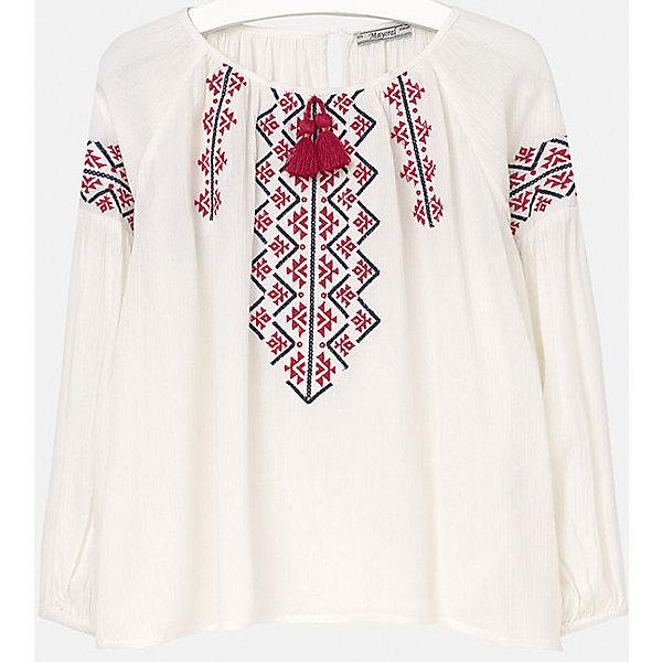 Блузка для девочки MayoralБлузки и рубашки<br>Блузка для девочки от известного испанского бренда Mayoral(Майорал). Легкая блузка с длинным рукавом застегивается на пуговицу сзади и украшена вышивкой с этническими мотивами. Прекрасный вариант на каждый день!<br>Дополнительная информация:<br>-длинные рукава<br>-застежка-пуговица<br>-цвет: белый/красный<br>-состав: 100% вискоза<br>Блузку Mayoral(Майорал) можно купить в нашем интернет-магазине.<br><br>Ширина мм: 186<br>Глубина мм: 87<br>Высота мм: 198<br>Вес г: 197<br>Цвет: красный<br>Возраст от месяцев: 156<br>Возраст до месяцев: 168<br>Пол: Женский<br>Возраст: Детский<br>Размер: 158/164<br>SKU: 4847124