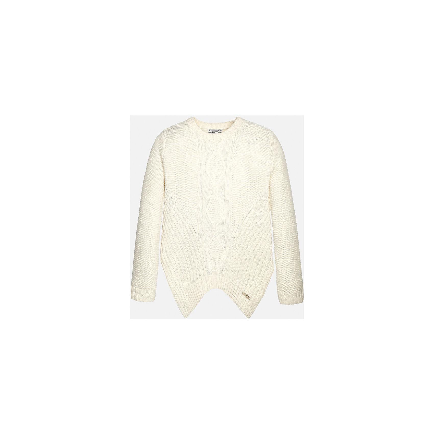 Свитер для девочки MayoralСвитера и кардиганы<br>Свитер для девочки от известного испанского бренда Mayoral(Майорал) изготовлен из высококачественных прочных материалов. Модель отличается оригинальным дизайном с вырезом на подоле. Элегантный свитер нежного цвета - прекрасный вариант для юной леди!<br>Дополнительная информация:<br>-вырез на подоле<br>-длинные рукава<br>-цвет: белый<br>-состав: 75% акрил, 25% полиамид<br>Свитер Mayoral(Майорал) вы можете приобрести в нашем интернет-магазине.<br><br>Ширина мм: 190<br>Глубина мм: 74<br>Высота мм: 229<br>Вес г: 236<br>Цвет: белый<br>Возраст от месяцев: 96<br>Возраст до месяцев: 108<br>Пол: Женский<br>Возраст: Детский<br>Размер: 146/152,128/134,164/170,152/158,158/164,134/140<br>SKU: 4847168