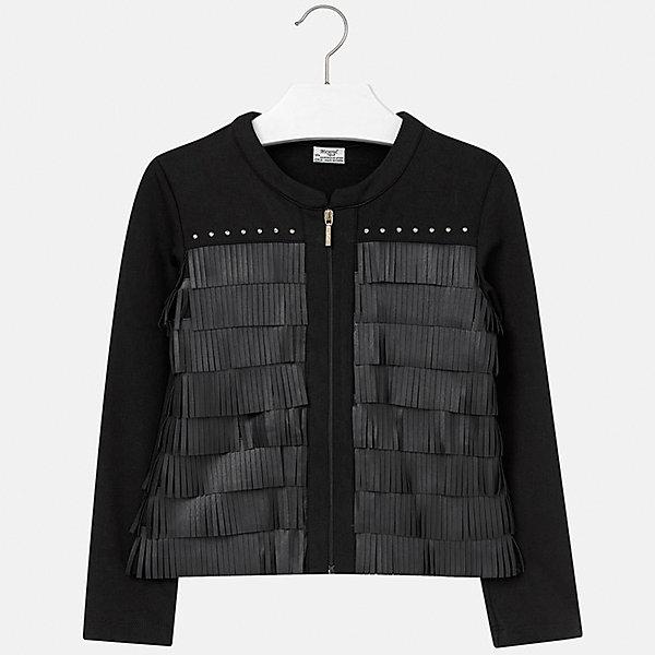 Куртка для девочки MayoralДемисезонные куртки<br>Куртка для девочки от популярного испанского бренда Mayoral(Майорал). Стильная курточка украшена стразами и бахромой, застегивается спереди на молнию. Изготовлена из прочных водоотталкивающих материалов. Отлично подойдет в прохладную погоду.<br>Дополнительная информация:<br>-украшена бахромой и стразами<br>-застегивается на молнию<br>-цвет: черный<br>-состав: 60% полиэстер, 35% полиуретан, 5% эластан<br>Куртку для девочки Mayoral(Майорал) можно купить в нашем интернет-магазине.<br><br>Ширина мм: 356<br>Глубина мм: 10<br>Высота мм: 245<br>Вес г: 519<br>Цвет: черный<br>Возраст от месяцев: 168<br>Возраст до месяцев: 180<br>Пол: Женский<br>Возраст: Детский<br>Размер: 170,128/134,152,140,164,158<br>SKU: 4847213
