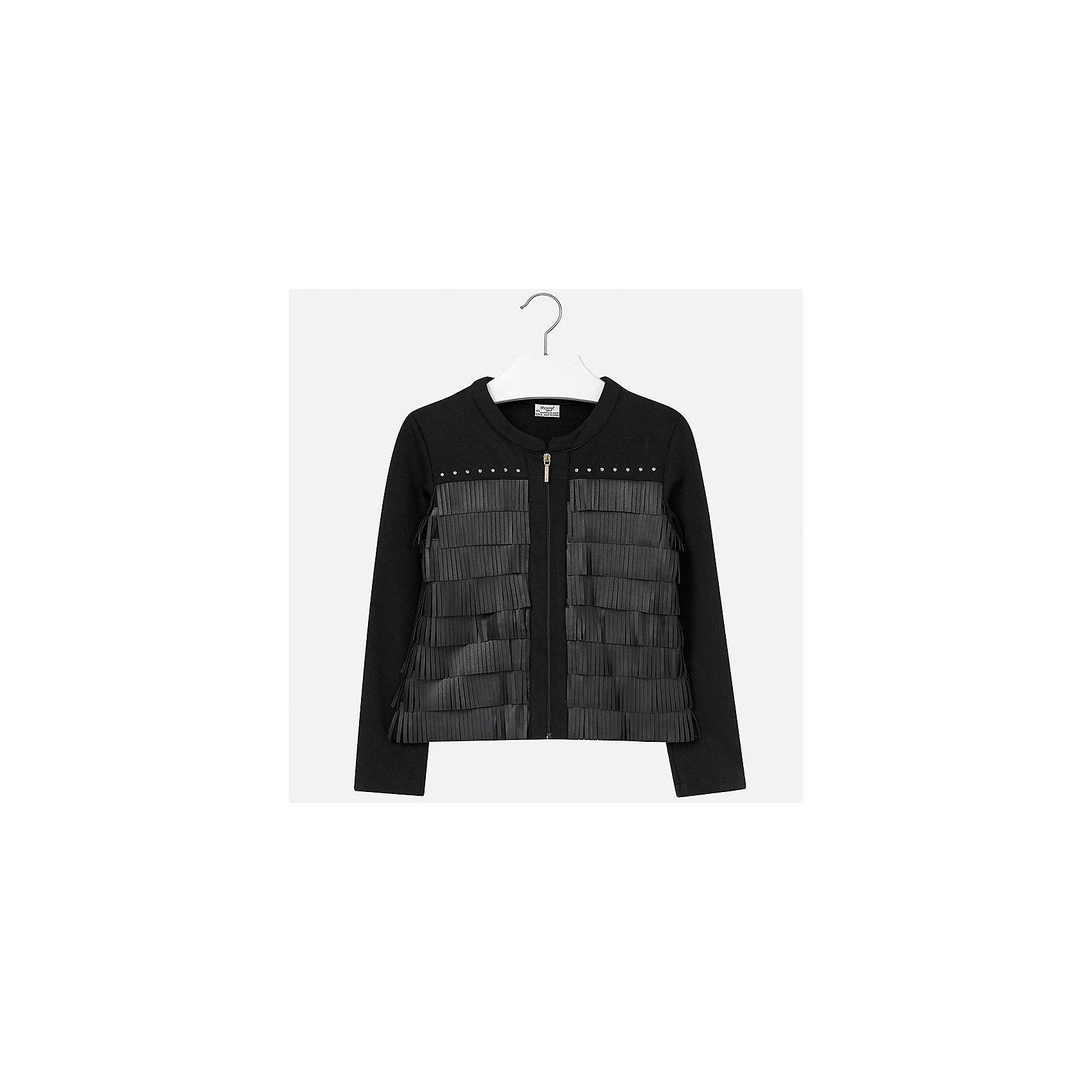 Куртка для девочки MayoralКуртка для девочки от популярного испанского бренда Mayoral(Майорал). Стильная курточка украшена стразами и бахромой, застегивается спереди на молнию. Изготовлена из прочных водоотталкивающих материалов. Отлично подойдет в прохладную погоду.<br>Дополнительная информация:<br>-украшена бахромой и стразами<br>-застегивается на молнию<br>-цвет: черный<br>-состав: 60% полиэстер, 35% полиуретан, 5% эластан<br>Куртку для девочки Mayoral(Майорал) можно купить в нашем интернет-магазине.<br><br>Ширина мм: 356<br>Глубина мм: 10<br>Высота мм: 245<br>Вес г: 519<br>Цвет: черный<br>Возраст от месяцев: 156<br>Возраст до месяцев: 168<br>Пол: Женский<br>Возраст: Детский<br>Размер: 164,170,140,152,128/134,158<br>SKU: 4847213