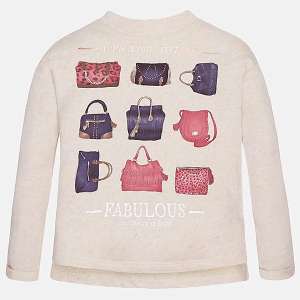 Толстовка для девочки MayoralТолстовки<br>Толстовка для девочки от популярного испанского бренда Mayoral(Майорал) изготовлен из натурального хлопка. Сзади модель застегивается на небольшую молнию.  Спереди свитер украшен интересным принтом с сумочками. Такая толстовкаобязательно поднимет настроение и подарит массу положительных эмоций юной моднице!<br>Дополнительная информация:<br>-застегивается на небольшую молнию<br>-украшен принтом<br>-цвет: молочный<br>-состав: 90% хлопок, 10% полиэстер<br>Свитер для девочки Mayoral(Майорал) вы можете приобрести в нашем интернет-магазине.<br><br>Ширина мм: 190<br>Глубина мм: 74<br>Высота мм: 229<br>Вес г: 236<br>Цвет: бежевый<br>Возраст от месяцев: 144<br>Возраст до месяцев: 156<br>Пол: Женский<br>Возраст: Детский<br>Размер: 152/158,164/170,158/164,146/152,134/140,128/134<br>SKU: 4847248
