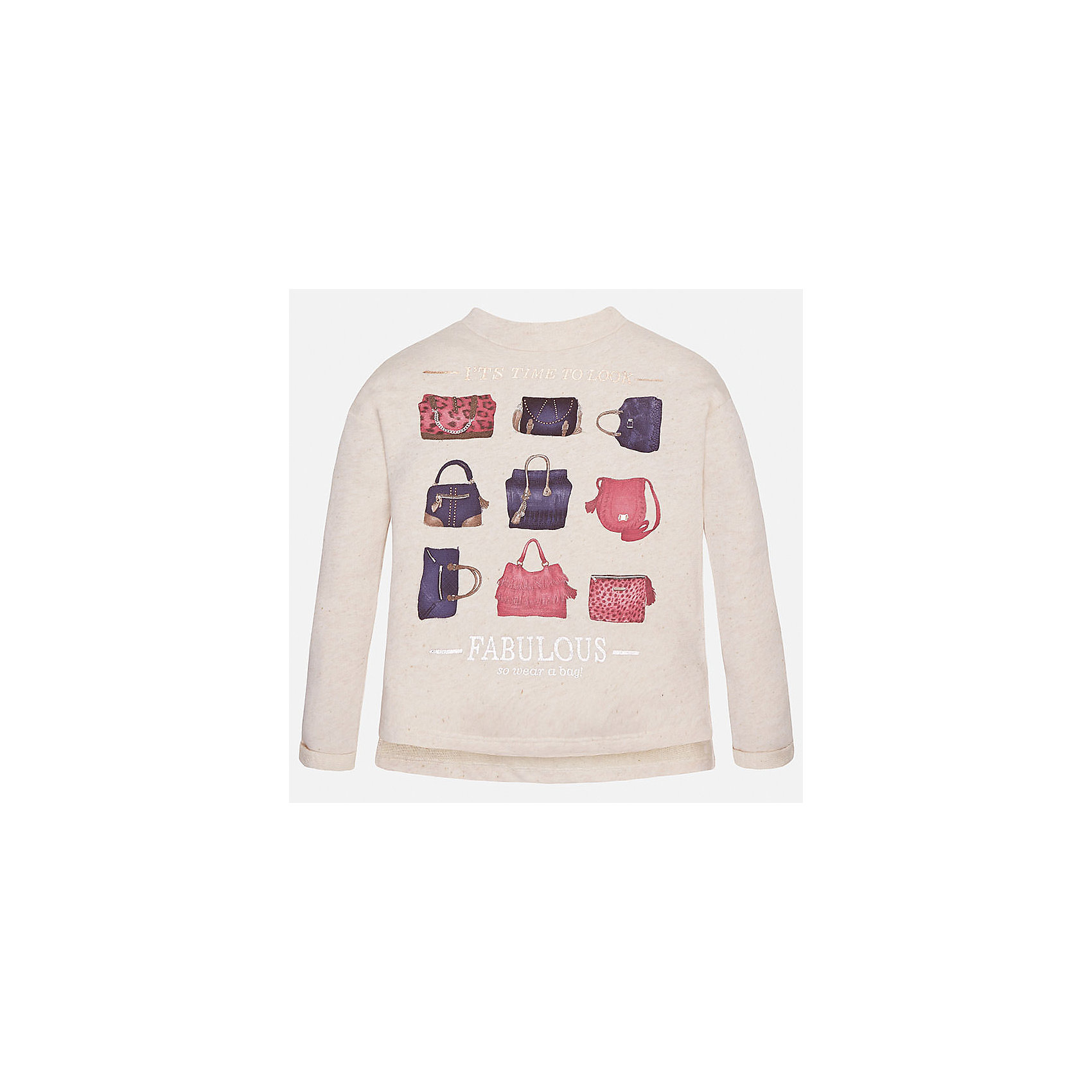 Толстовка для девочки MayoralТолстовки<br>Толстовка для девочки от популярного испанского бренда Mayoral(Майорал) изготовлен из натурального хлопка. Сзади модель застегивается на небольшую молнию.  Спереди свитер украшен интересным принтом с сумочками. Такая толстовкаобязательно поднимет настроение и подарит массу положительных эмоций юной моднице!<br>Дополнительная информация:<br>-застегивается на небольшую молнию<br>-украшен принтом<br>-цвет: молочный<br>-состав: 90% хлопок, 10% полиэстер<br>Свитер для девочки Mayoral(Майорал) вы можете приобрести в нашем интернет-магазине.<br><br>Ширина мм: 190<br>Глубина мм: 74<br>Высота мм: 229<br>Вес г: 236<br>Цвет: бежевый<br>Возраст от месяцев: 144<br>Возраст до месяцев: 156<br>Пол: Женский<br>Возраст: Детский<br>Размер: 152/158,164/170,128/134,134/140,146/152,158/164<br>SKU: 4847248