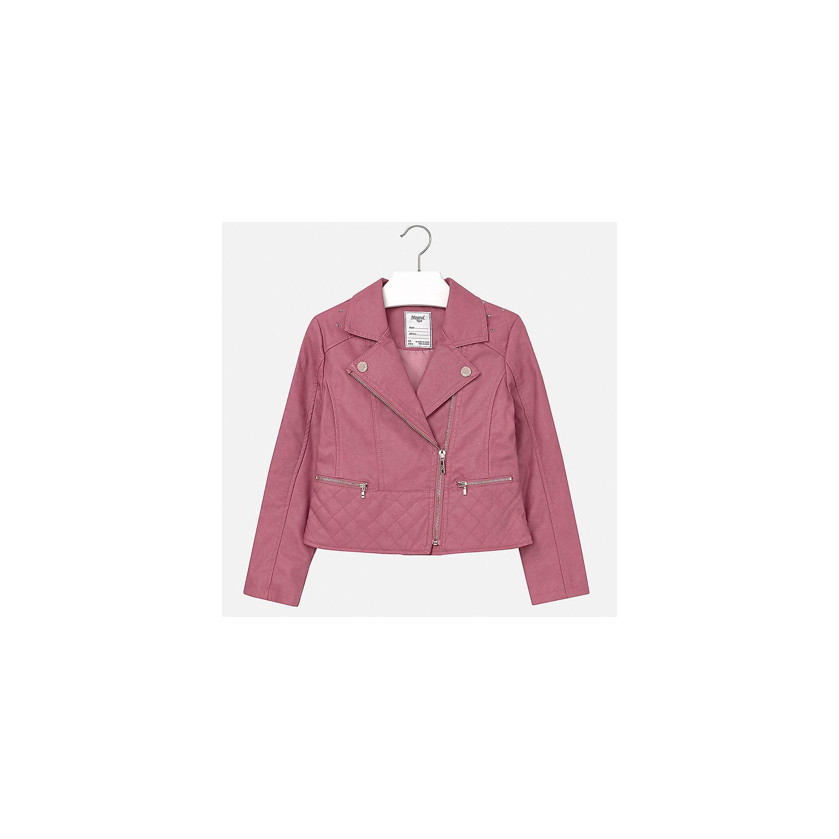 Куртка для девочки MayoralДемисезонные куртки<br>Куртка для девочки от известного испанского бренда Mayoral(Майорал). Куртка застегивается на молнию, украшена декоративными пуговицами и стразами. Изготовлена из качественных водоотталкивающих и дышащих материалов. Стильная курточка займет достойное место в гардеробе девочки!<br>Дополнительная информация:<br>-застегивается на молнию<br>-украшена стразами и декоративными пуговицами<br>-цвет: розовый<br>-состав. 100% полиуретан; подкладка: 100% полиэстер<br>Куртку для девочки Mayoral(Майорал) можно купить в нашем интернет-магазине.<br><br>Ширина мм: 356<br>Глубина мм: 10<br>Высота мм: 245<br>Вес г: 519<br>Цвет: розовый<br>Возраст от месяцев: 144<br>Возраст до месяцев: 156<br>Пол: Женский<br>Возраст: Детский<br>Размер: 152/158,128/134,164/170,146/152,134/140,158/164<br>SKU: 4847269