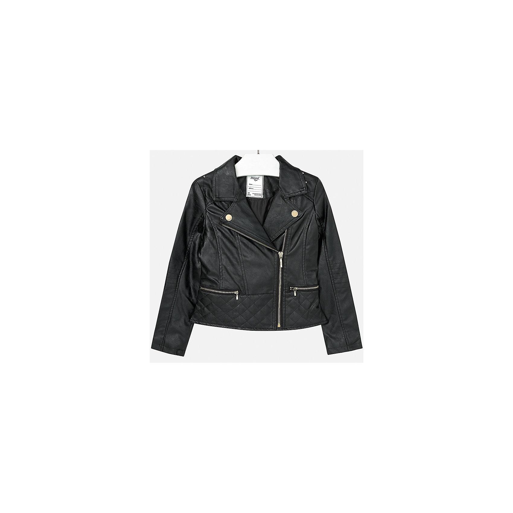Куртка для девочки MayoralКуртка для девочки от известного испанского бренда Mayoral(Майорал). Куртка застегивается на молнию, украшена декоративными пуговицами и стразами. Изготовлена из качественных водоотталкивающих и дышащих материалов. Стильная курточка займет достойное место в гардеробе девочки!<br>Дополнительная информация:<br>-застегивается на молнию<br>-украшена стразами и декоративными пуговицами<br>-цвет: черный<br>-состав. 100% полиуретан; подкладка: 100% полиэстер<br>Куртку для девочки Mayoral(Майорал) можно купить в нашем интернет-магазине.<br><br>Ширина мм: 356<br>Глубина мм: 10<br>Высота мм: 245<br>Вес г: 519<br>Цвет: черный<br>Возраст от месяцев: 96<br>Возраст до месяцев: 108<br>Пол: Женский<br>Возраст: Детский<br>Размер: 128/134,152/158,134/140,164/170,158/164,146/152<br>SKU: 4847276