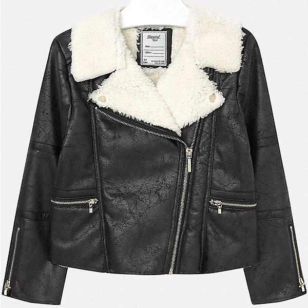 Куртка для девочки MayoralДемисезонные куртки<br>Куртка для девочки от популярного испанского бренда Mayoral(Майорал). Стильная куртка из искусственной замши с эффектом потертостей, украшена искусственным мехом на вороте. Застегивается на молнии спереди и на рукавах. Лучшее сочетание стиля и простоты!<br>Дополнительная информация:<br>-застегивается на молнию<br>-эффект потертости<br>-цвет: черный<br>-состав: 100% полиэстер<br>Куртку Mayoral(Майорал) вы можете приобрести в нашем интернет-магазине.<br>Ширина мм: 356; Глубина мм: 10; Высота мм: 245; Вес г: 519; Цвет: черный; Возраст от месяцев: 96; Возраст до месяцев: 108; Пол: Женский; Возраст: Детский; Размер: 128/134,134/140,158/164,146/152,152/158,164/170; SKU: 4847283;