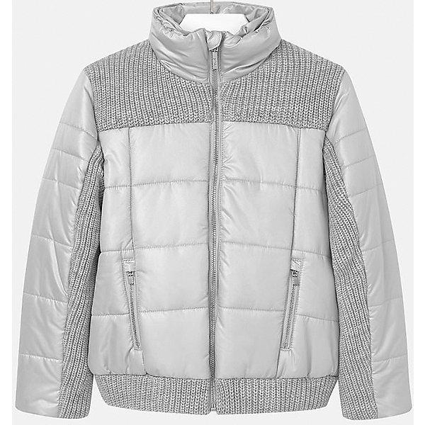 Куртка для девочки MayoralВерхняя одежда<br>Куртка для девочки от популярного испанского бренда Mayoral(Майорал). Изготовлена из материалов, способных сохранять тепло. Приятный дизайн с вязаными вставками. Модель застегивается на молнию, спереди есть два кармана. Такая курточка прекрасно подойдет к любой детали гардероба девочки!<br>Дополнительная информация:<br>-застегивается на молнию<br>-вязаные вставки на груди, рукавах и подоле<br>-цвет: серый<br>-состав. 70% полиэстер, 30% акрил; подкладка: 100% полиэстер<br>Куртку Mayoral(Майорал) вы можете приобрести в нашем интернет-магазине.<br>Ширина мм: 356; Глубина мм: 10; Высота мм: 245; Вес г: 519; Цвет: серый; Возраст от месяцев: 96; Возраст до месяцев: 108; Пол: Женский; Возраст: Детский; Размер: 146/152,128/134,134/140,158/164,152/158,164/170; SKU: 4847304;