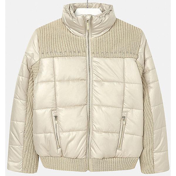 Куртка для девочки MayoralВерхняя одежда<br>Куртка для девочки от популярного испанского бренда Mayoral(Майорал). Изготовлена из материалов, способных сохранять тепло. Приятный дизайн с вязаными вставками. Модель застегивается на молнию, спереди есть два кармана. Такая курточка прекрасно подойдет к любой детали гардероба девочки!<br>Дополнительная информация:<br>-застегивается на молнию<br>-вязаные вставки на груди, рукавах и подоле<br>-цвет: золотой<br>-состав. 70% полиэстер, 30% акрил; подкладка: 100% полиэстер<br>Куртку Mayoral(Майорал) вы можете приобрести в нашем интернет-магазине.<br>Ширина мм: 356; Глубина мм: 10; Высота мм: 245; Вес г: 519; Цвет: желтый; Возраст от месяцев: 132; Возраст до месяцев: 144; Пол: Женский; Возраст: Детский; Размер: 134/140,146/152,128/134,158/164,164/170,152/158; SKU: 4847311;