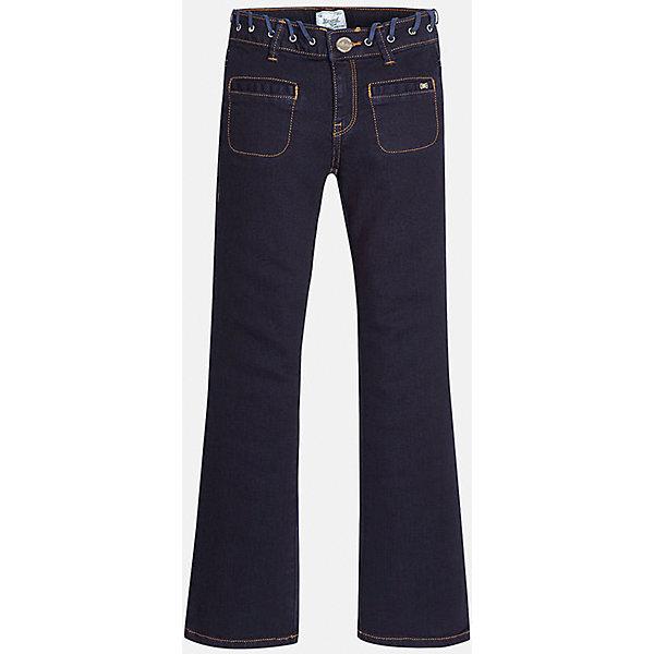 Джинсы для девочки MayoralДжинсовая одежда<br>Джинсы темно-синего цвета торговой марки    Майорал -Mayoral для девочек.<br>Стильные расклешенные  джинсы выполнены из хлопка и украшены декаративным пояском, а также имитацией карманов с вставками. Модель дополнена шлевками для ремня и функциональными задними карманами. Джинсы застегиваются на удобную молнию. <br><br>Дополнительная информация: <br><br>- цвет: темно-синий<br>- состав: хлопок 98%,  эластан 2%, <br>- фактура материала: текстильный<br>- тип карманов: без карманов<br>- уход за вещами: бережная стирка при 30 градусах<br>- рисунок: с рисунком<br>- назначение: повседневная<br>- сезон: круглогодичный<br>- пол: девочки<br>- страна бренда: Испания<br>- страна производитель: Индия<br>- комплектация: брюки<br><br>Джинсы торговой марки    Майорал -Mayoral для девочек можно купить в нашем интернет-магазине..<br><br>Ширина мм: 215<br>Глубина мм: 88<br>Высота мм: 191<br>Вес г: 336<br>Цвет: синий<br>Возраст от месяцев: 96<br>Возраст до месяцев: 108<br>Пол: Женский<br>Возраст: Детский<br>Размер: 128/134,164/170,158/164,152/158,146/152,134/140<br>SKU: 4847353