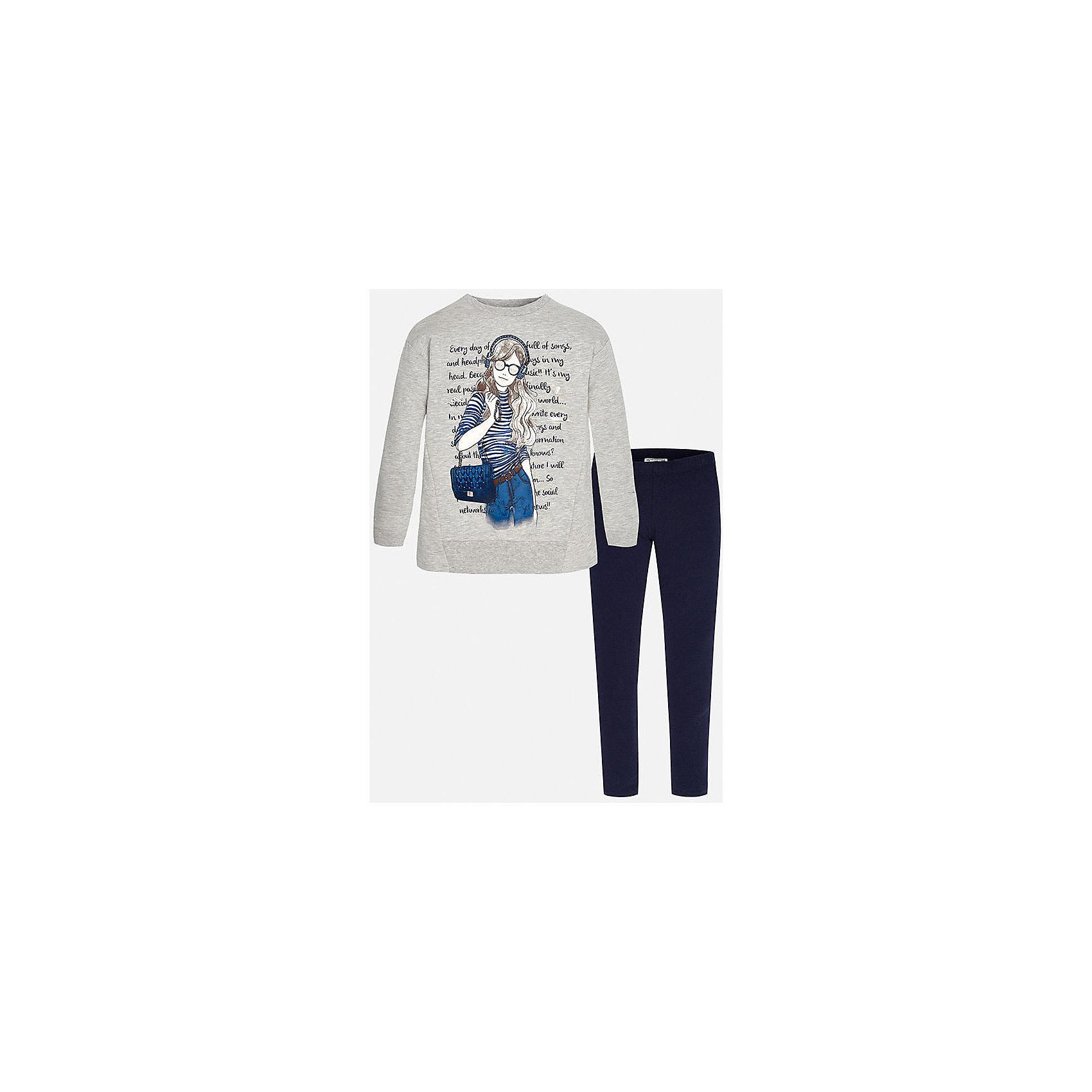 Комплект:футболка и леггинсы для девочки MayoralКомплекты<br>Комплект для девочки Mayoral (Майорал) от известного испанского бренда Mayoral. Комплект состоит из пуловера с длинными рукавами и леггинсов. Пуловер и леггинсы изготовлены из трикотажного полотна с добавлением полиэстера и эластана.  Сочетание натуральных и искусственных нитей обеспечивает воздухопроницаемость, защищает от потери цвета и формы даже при длительном использовании. Пуловер выполнен в сером цвете, на передней части нанесен молодежный принт с элементами синего цвета, темно-синие леггинсы – со средней посадкой, с узким эластичным поясом обеспечивают комфорт и удобство при повседневной носке. Комплект разрешается стирать при температуре 30 градусов, допускается химическая чистка и глажка. <br><br>Дополнительная информация:<br><br>- Предназначение: повседневная одежда<br>- Цвет: серый, темно-синий<br>- Пол: для девочки<br>- Состав: 58% хлопок, 39% полиэстер, 3% эластан<br>- Сезон: круглый год<br>- Особенности ухода: стирка при температуре 30 градусов, допускается глажение и химическая чистка<br><br>Подробнее:<br><br>• Для детей в возрасте: от 8 лет и до 16 лет<br>• Страна производитель: Китай<br>• Торговый бренд: Mayoral<br><br>Комплект для девочки Mayoral (Майорал) можно купить в нашем интернет-магазине.<br><br>Ширина мм: 123<br>Глубина мм: 10<br>Высота мм: 149<br>Вес г: 209<br>Цвет: синий<br>Возраст от месяцев: 96<br>Возраст до месяцев: 108<br>Пол: Женский<br>Возраст: Детский<br>Размер: 128/134,164/170,158/164,146/152,152/158,134/140<br>SKU: 4847437