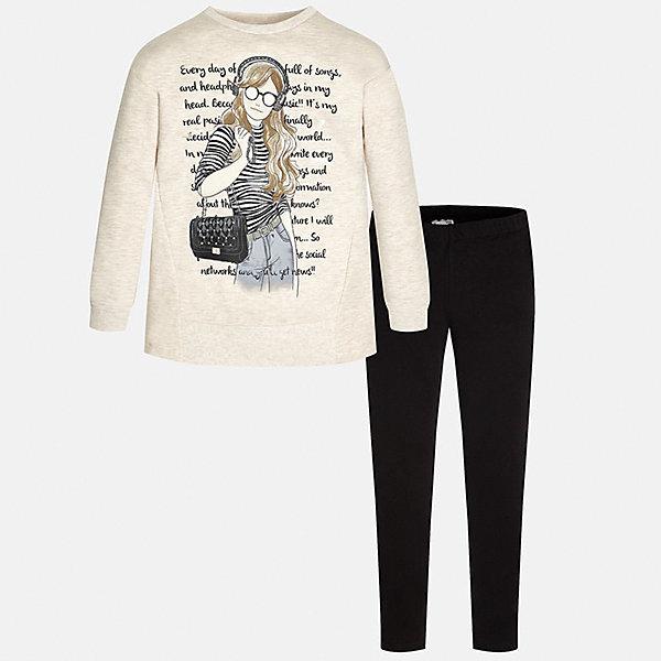 Комплект:футболка и леггинсы для девочки MayoralКомплекты<br>Комплект для девочки Mayoral (Майорал) от известного испанского бренда Mayoral. Комплект состоит из пуловера с длинными рукавами и леггинсов. Пуловер и леггинсы изготовлены из трикотажного полотна с добавлением полиэстера и эластана.  Сочетание натуральных и искусственных нитей обеспечивает воздухопроницаемость, защищает от потери цвета и формы даже при длительном использовании. Пуловер выполнен в светлых оттенка, на передней части нанесен молодежный принт с элементами серого и черного цвета, черные леггинсы – со средней посадкой, с узким эластичным поясом обеспечивают комфорт и удобство при повседневной носке. Комплект разрешается стирать при температуре 30 градусов, допускается химическая чистка и глажка. <br><br>Дополнительная информация:<br><br>- Предназначение: повседневная одежда<br>- Цвет: светло-телесный, черный<br>- Пол: для девочки<br>- Состав: 58% хлопок, 39% полиэстер, 3% эластан<br>- Сезон: круглый год<br>- Особенности ухода: стирка при температуре 30 градусов, допускается глажение и химическая чистка<br><br>Подробнее:<br><br>• Для детей в возрасте: от 8 лет и до 16 лет<br>• Страна производитель: Китай<br>• Торговый бренд: Mayoral<br><br>Комплект для девочки Mayoral (Майорал) можно купить в нашем интернет-магазине.<br><br>Ширина мм: 123<br>Глубина мм: 10<br>Высота мм: 149<br>Вес г: 209<br>Цвет: черный<br>Возраст от месяцев: 156<br>Возраст до месяцев: 168<br>Пол: Женский<br>Возраст: Детский<br>Размер: 158/164,134/140,128/134,164/170,152/158,146/152<br>SKU: 4847444