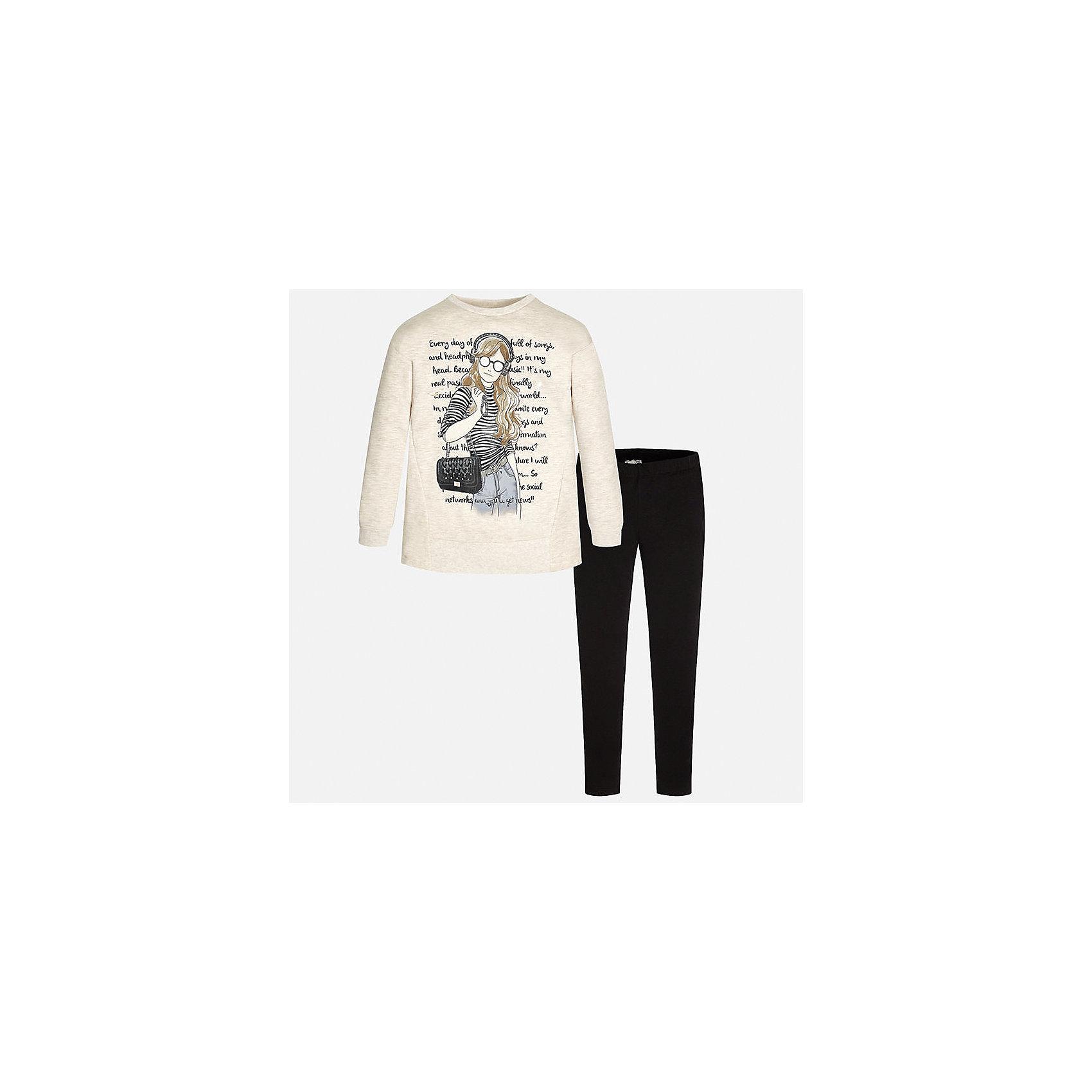 Комплект:футболка и леггинсы для девочки MayoralКомплект для девочки Mayoral (Майорал) от известного испанского бренда Mayoral. Комплект состоит из пуловера с длинными рукавами и леггинсов. Пуловер и леггинсы изготовлены из трикотажного полотна с добавлением полиэстера и эластана.  Сочетание натуральных и искусственных нитей обеспечивает воздухопроницаемость, защищает от потери цвета и формы даже при длительном использовании. Пуловер выполнен в светлых оттенка, на передней части нанесен молодежный принт с элементами серого и черного цвета, черные леггинсы – со средней посадкой, с узким эластичным поясом обеспечивают комфорт и удобство при повседневной носке. Комплект разрешается стирать при температуре 30 градусов, допускается химическая чистка и глажка. <br><br>Дополнительная информация:<br><br>- Предназначение: повседневная одежда<br>- Цвет: светло-телесный, черный<br>- Пол: для девочки<br>- Состав: 58% хлопок, 39% полиэстер, 3% эластан<br>- Сезон: круглый год<br>- Особенности ухода: стирка при температуре 30 градусов, допускается глажение и химическая чистка<br><br>Подробнее:<br><br>• Для детей в возрасте: от 8 лет и до 16 лет<br>• Страна производитель: Китай<br>• Торговый бренд: Mayoral<br><br>Комплект для девочки Mayoral (Майорал) можно купить в нашем интернет-магазине.<br><br>Ширина мм: 123<br>Глубина мм: 10<br>Высота мм: 149<br>Вес г: 209<br>Цвет: черный<br>Возраст от месяцев: 156<br>Возраст до месяцев: 168<br>Пол: Женский<br>Возраст: Детский<br>Размер: 158/164,134/140,128/134,164/170,152/158,146/152<br>SKU: 4847444