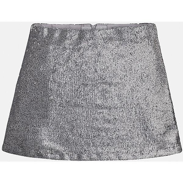 Юбка для девочки MayoralОдежда<br>Юбка для девочки от известного испанского бренда Mayoral (Майорал). Эта модная и удобная юбка средней длинны сочетает в себе стиль и простоту. Приятный блестящий серебристый цвет, полученный за счет множества пайеток придет по вкусу вашей моднице. У юбки свободный крой, расширяющийся к низу. Отличное пополнение для сезона осень-зима. К этому платью подойдут как классические колготки, так и современные укороченные леггинсы.<br><br>Дополнительная информация:<br><br>- Силуэт: расширяющийся <br>- Длина: средняя<br><br>Состав: верх: 100% полиэстер, подкладка: 60% хлопок, 40% полиэстер <br><br>Юбка для девочки Mayoral (Майорал) можно купить в нашем интернет-магазине.<br><br>Подробнее:<br>• Для детей в возрасте: от 8 до 16 лет<br>• Номер товара: 4847458<br>Страна производитель: Индия<br><br>Ширина мм: 207<br>Глубина мм: 10<br>Высота мм: 189<br>Вес г: 183<br>Цвет: серый<br>Возраст от месяцев: 132<br>Возраст до месяцев: 144<br>Пол: Женский<br>Возраст: Детский<br>Размер: 134/140,152/158,146/152,128/134,164/170,158/164<br>SKU: 4847458