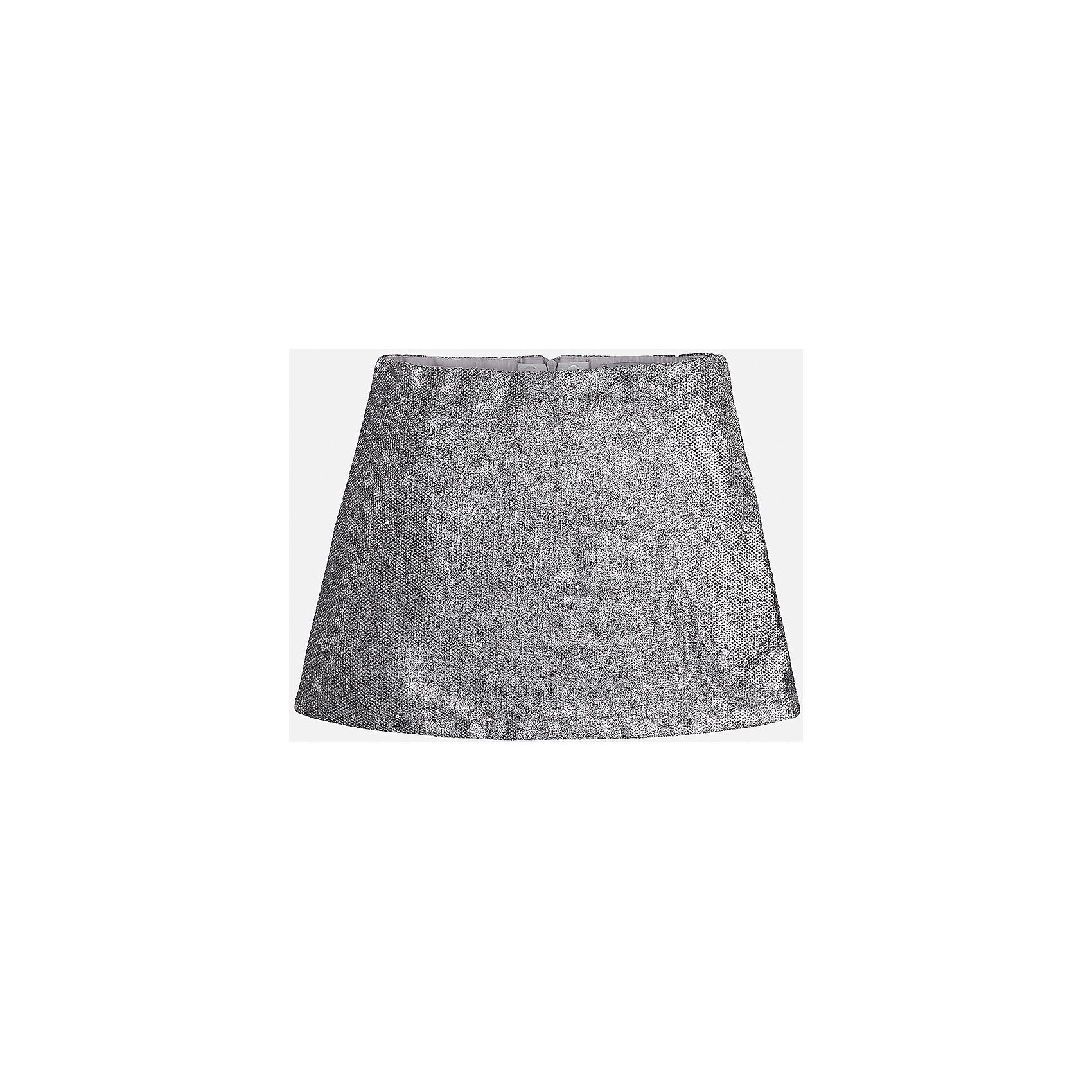 Юбка для девочки MayoralЮбка для девочки от известного испанского бренда Mayoral (Майорал). Эта модная и удобная юбка средней длинны сочетает в себе стиль и простоту. Приятный блестящий серебристый цвет, полученный за счет множества пайеток придет по вкусу вашей моднице. У юбки свободный крой, расширяющийся к низу. Отличное пополнение для сезона осень-зима. К этому платью подойдут как классические колготки, так и современные укороченные леггинсы.<br><br>Дополнительная информация:<br><br>- Силуэт: расширяющийся <br>- Длина: средняя<br><br>Состав: верх: 100% полиэстер, подкладка: 60% хлопок, 40% полиэстер <br><br>Юбка для девочки Mayoral (Майорал) можно купить в нашем интернет-магазине.<br><br>Подробнее:<br>• Для детей в возрасте: от 8 до 16 лет<br>• Номер товара: 4847458<br>Страна производитель: Индия<br><br>Ширина мм: 207<br>Глубина мм: 10<br>Высота мм: 189<br>Вес г: 183<br>Цвет: серый<br>Возраст от месяцев: 144<br>Возраст до месяцев: 156<br>Пол: Женский<br>Возраст: Детский<br>Размер: 152/158,128/134,164/170,158/164,146/152,134/140<br>SKU: 4847458