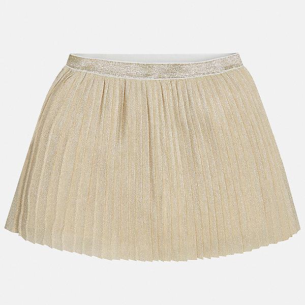 Юбка для девочки MayoralОдежда<br>Юбка для девочки Mayoral (Майорал) от известного испанского бренда Mayoral. Плиссированная расклешенная юбка выполнена в золотистом оттенке. Подклад юбки хлопковый. Верх юбки – узкая плиссировка из трикотажа высокого качества. Складки юбки и узкий пояс выполнены с добавлением люрекса. Юбка средней посадки, хорошо держит форму. Разрешается ручная стирка, химчистка и глажка с изнаночной стороны. Плиссированная юбка золотистого цвета – идеальный вариант праздничной одежды.<br><br>Дополнительная информация:<br><br>- Предназначение: праздничная одежда<br>- Цвет: золотой<br>- Пол: для девочки<br>- Состав: верх юбки – 66% полиэстер, 30% люрекс, 4% эластан; подклад – 100% хлопок<br>- Сезон: весна-лето<br>- Особенности ухода: стирка при температуре 30 градусов, химчистка, глажение с изнаночной стороны<br><br>Подробнее:<br><br>• Для детей в возрасте: от 8 лет и до 16 лет<br>• Страна производитель: Китай<br>• Торговый бренд: Mayoral<br><br>Юбку для девочки Mayoral (Майорал) можно купить в нашем интернет-магазине.<br>Ширина мм: 207; Глубина мм: 10; Высота мм: 189; Вес г: 183; Цвет: желтый; Возраст от месяцев: 168; Возраст до месяцев: 180; Пол: Женский; Возраст: Детский; Размер: 164/170,146/152,134/140,158/164,128/134,152/158; SKU: 4847472;