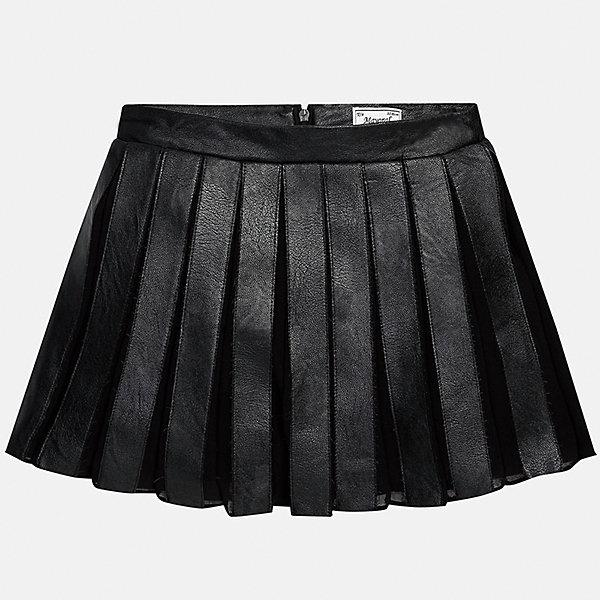 Юбка для девочки MayoralЮбки<br>Юбка для девочки Mayoral (Майорал) от известного испанского бренда Mayoral. Плиссированная расклешенная юбка классического черного цвета выполнена из сочетания эко-кожи и полиэстера. Спереди юбки имеются складки средней ширины. Подклад юбки выполнен из 100% хлопка. Юбка имеет среднюю посадку, хорошо держит форму, сзади застегивается на потайную молнию. Юбка имеет элегантный и стильный вид, благодаря этому ее можно использовать как для повседневной носки, так и как праздничный вариант одежды.  <br><br>Дополнительная информация:<br><br>- Предназначение: повседневная одежда, праздничная одежда<br>- Цвет: черный<br>- Пол: для девочки<br>- Состав: верх юбки – 74% полиуретан, 26% полиэстер; подклад – 100% хлопок<br>- Сезон: осень-зима<br>- Особенности ухода: ручная стирка<br><br>Подробнее:<br><br>• Для детей в возрасте: от 8 лет и до 16 лет<br>• Страна производитель: Китай<br>• Торговый бренд: Mayoral<br><br>Юбку для девочки Mayoral (Майорал) можно купить в нашем интернет-магазине.<br><br>Ширина мм: 207<br>Глубина мм: 10<br>Высота мм: 189<br>Вес г: 183<br>Цвет: черный<br>Возраст от месяцев: 168<br>Возраст до месяцев: 180<br>Пол: Женский<br>Возраст: Детский<br>Размер: 164/170,128/134,158/164,134/140,152/158,146/152<br>SKU: 4847493